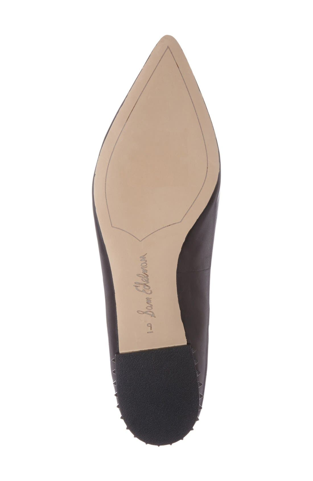 SAM EDELMAN,                             'Reyanne' Spike Rand Pointy Toe Flat,                             Alternate thumbnail 4, color,                             001