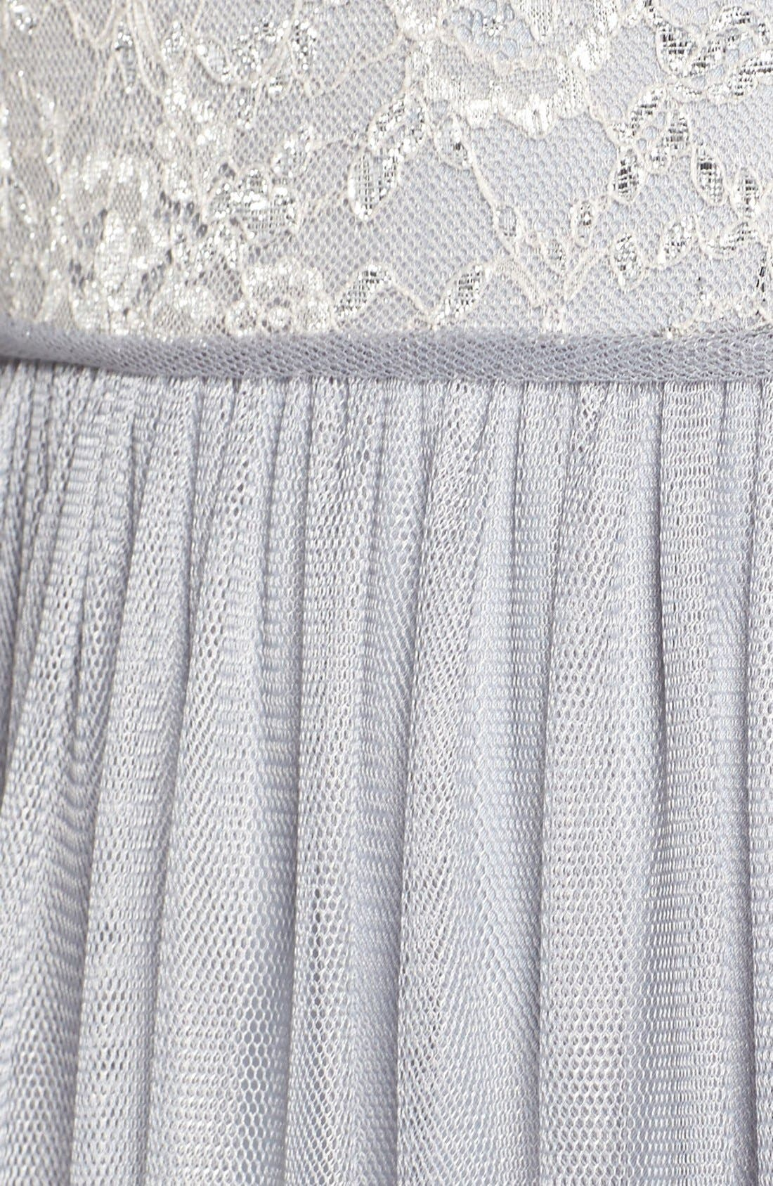 Metallic Lace & Tulle Spaghetti Strap Gown,                             Alternate thumbnail 5, color,                             040