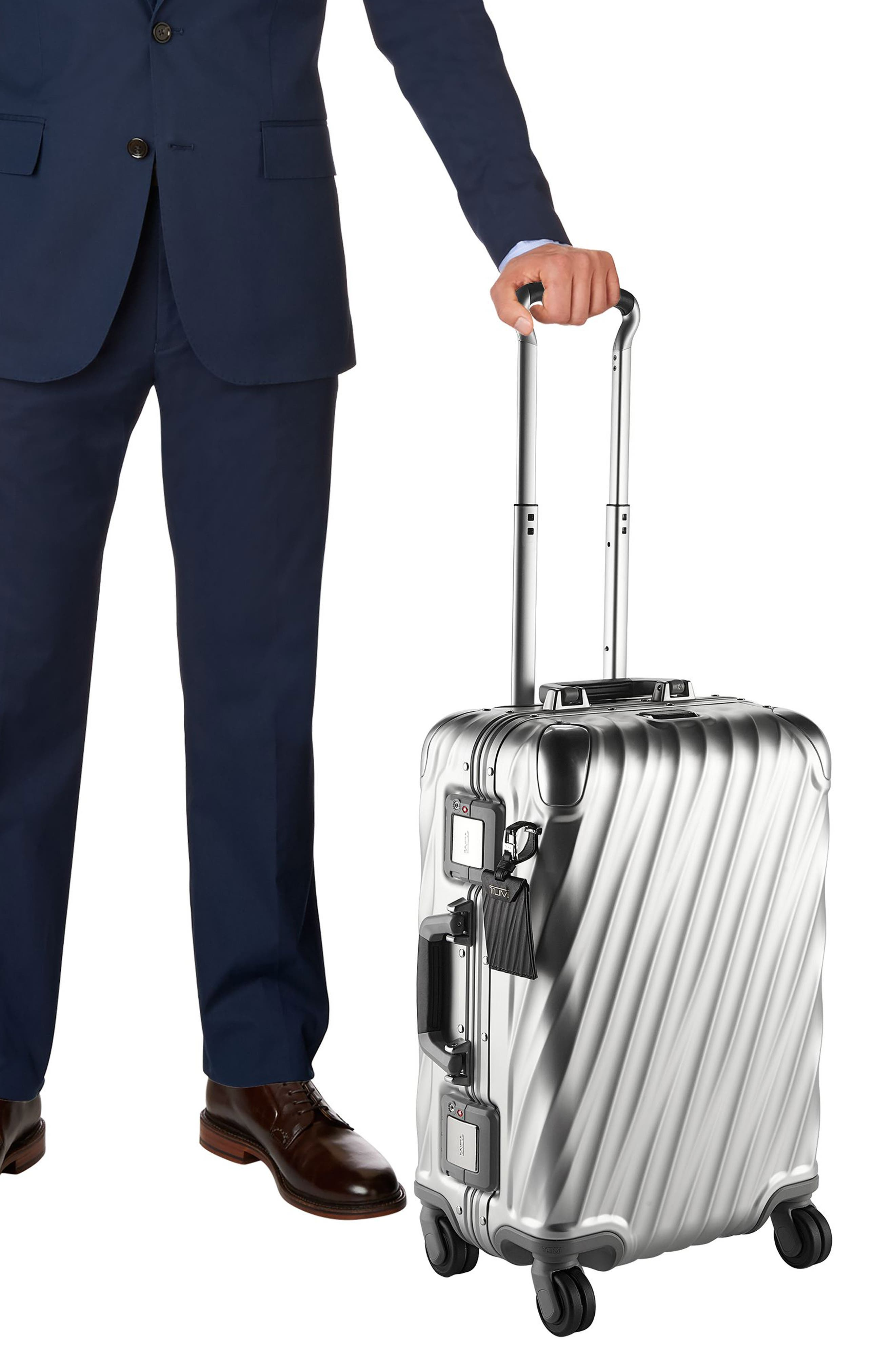 19 Degree 22-Inch Collection International Wheeled Aluminum Carry-On,                             Alternate thumbnail 7, color,                             SILVER