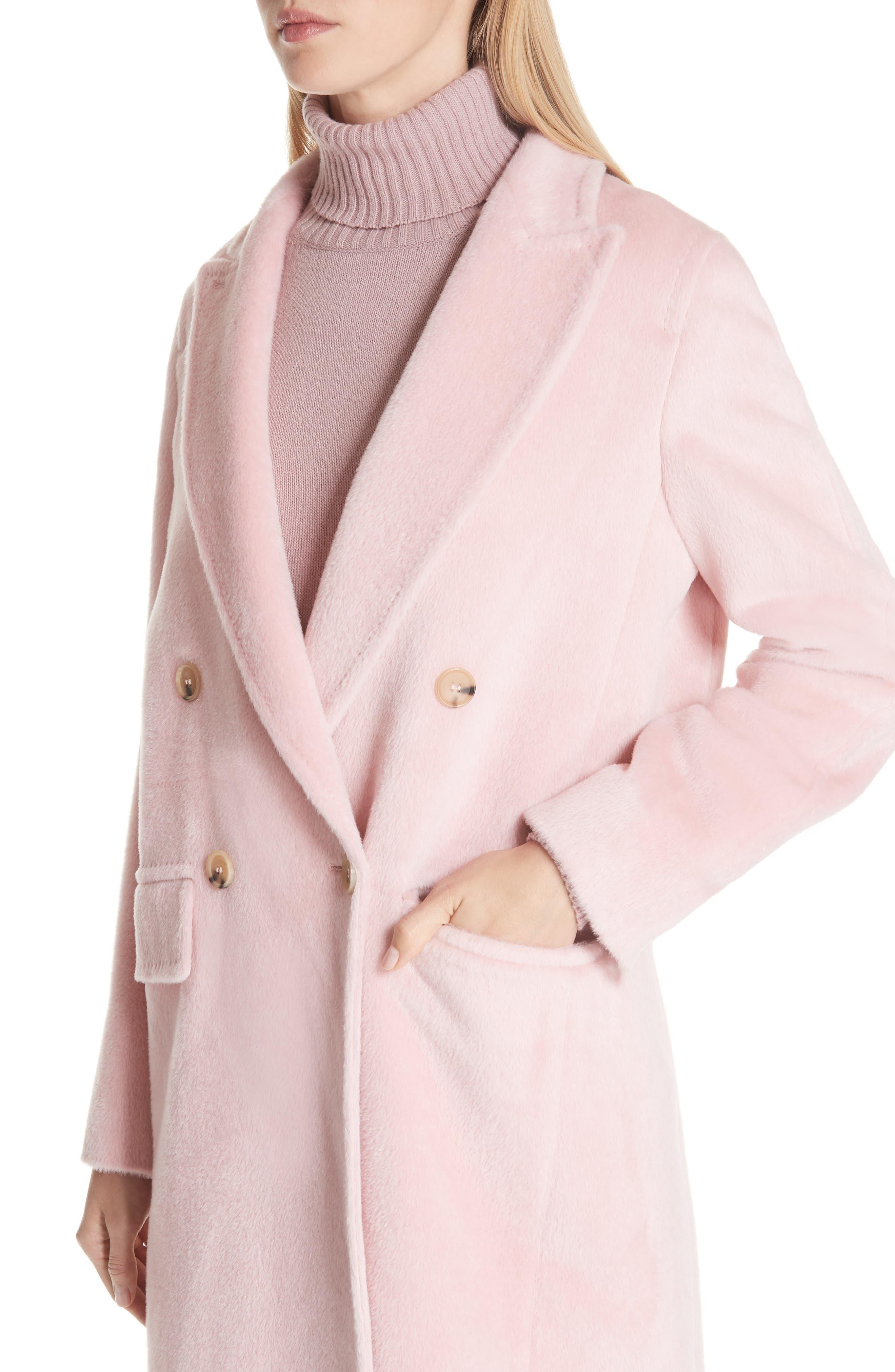 MAX MARA,                             Zarda Alpaca Double Breasted Coat,                             Alternate thumbnail 4, color,                             664