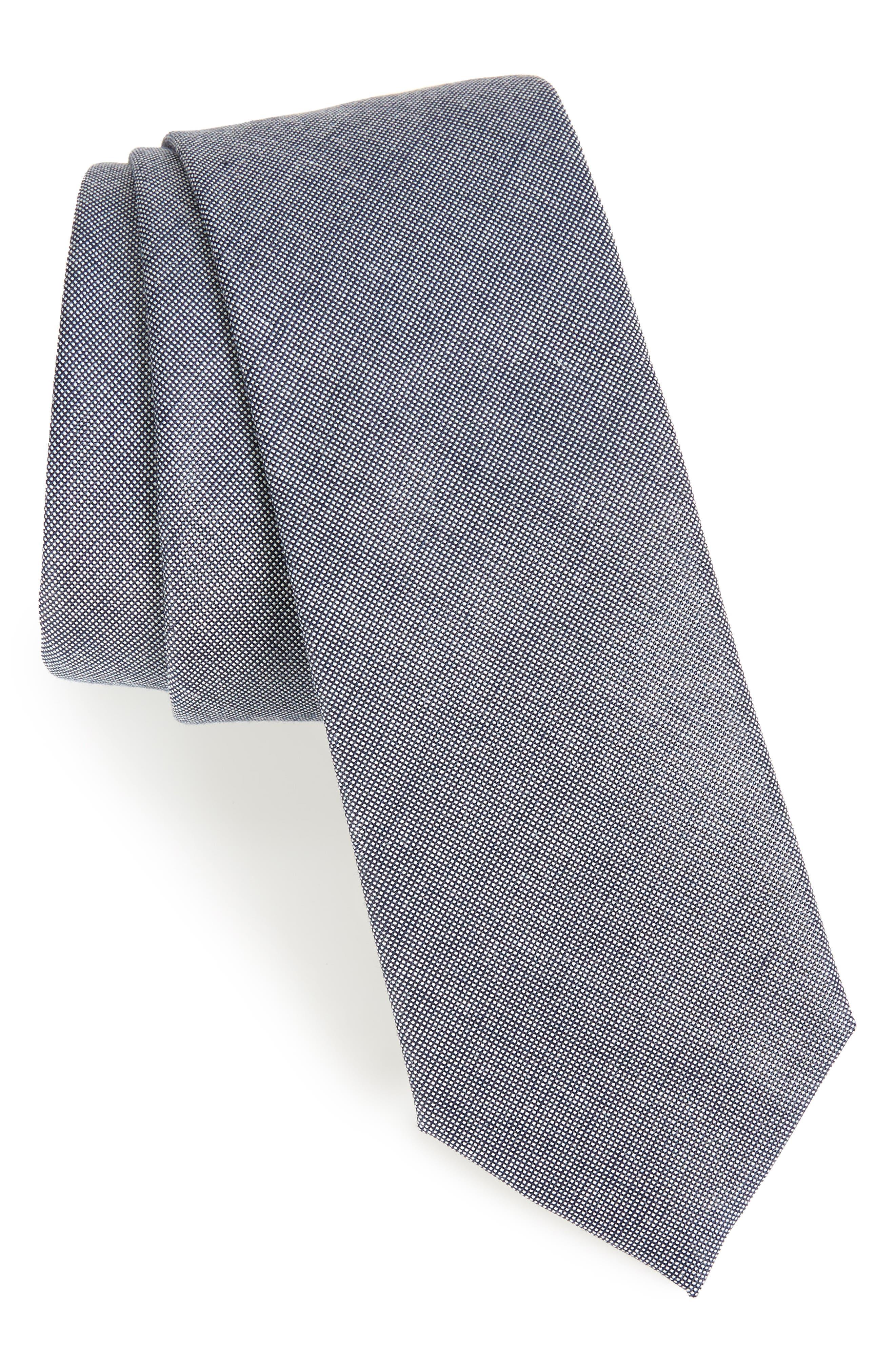 Combin Solid Cotton Blend Tie,                             Main thumbnail 1, color,
