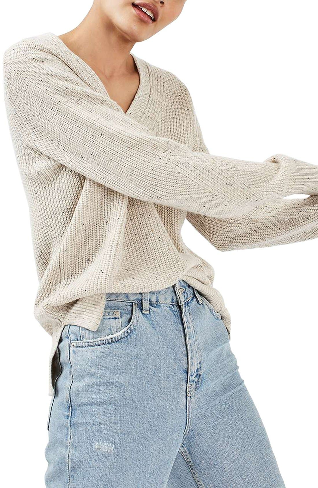 Ribbed V-Neck Sweater,                             Main thumbnail 1, color,                             101