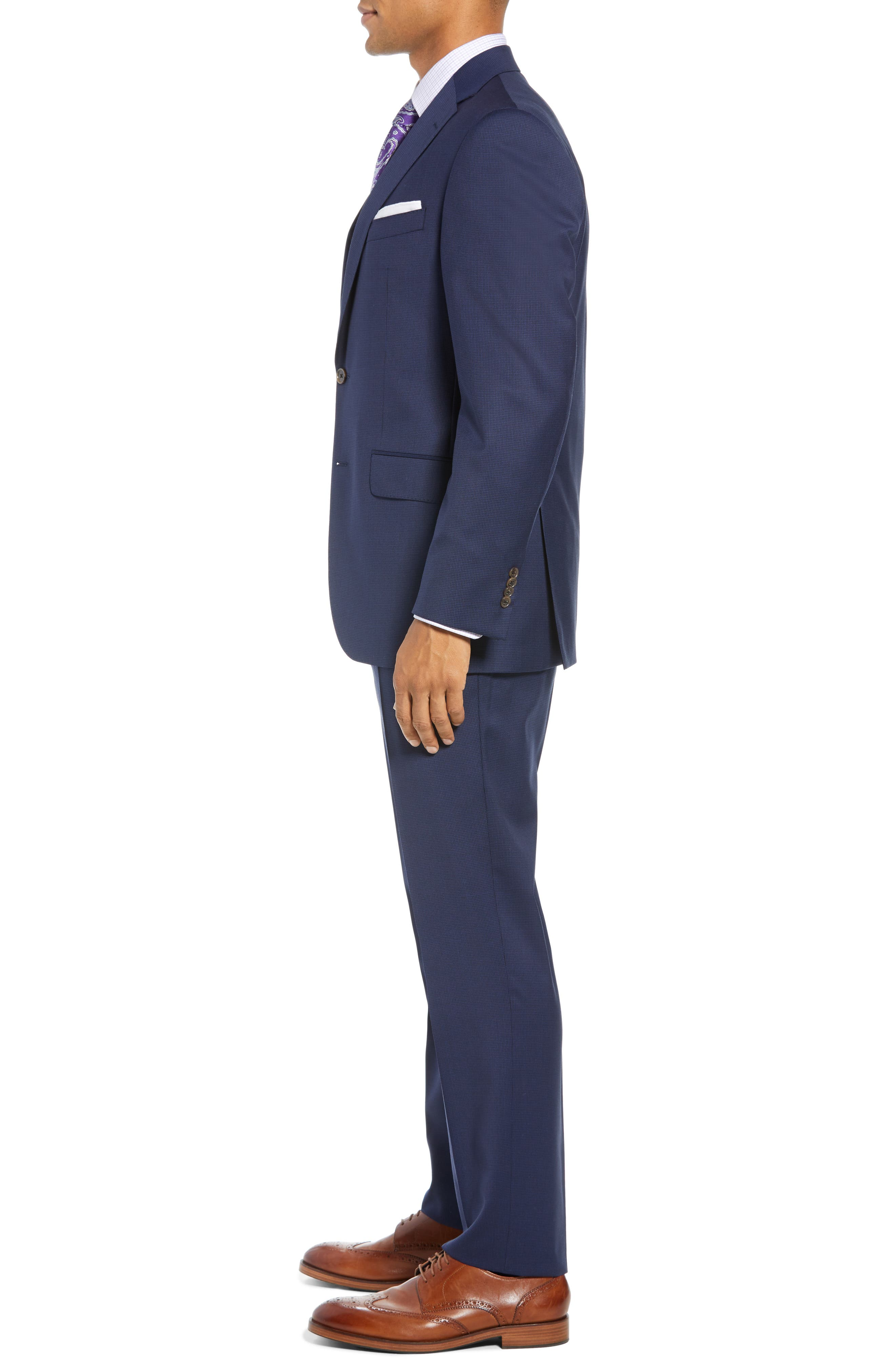 Ryan Classic Fit Houndstooth Wool Suit,                             Alternate thumbnail 3, color,                             BLUE