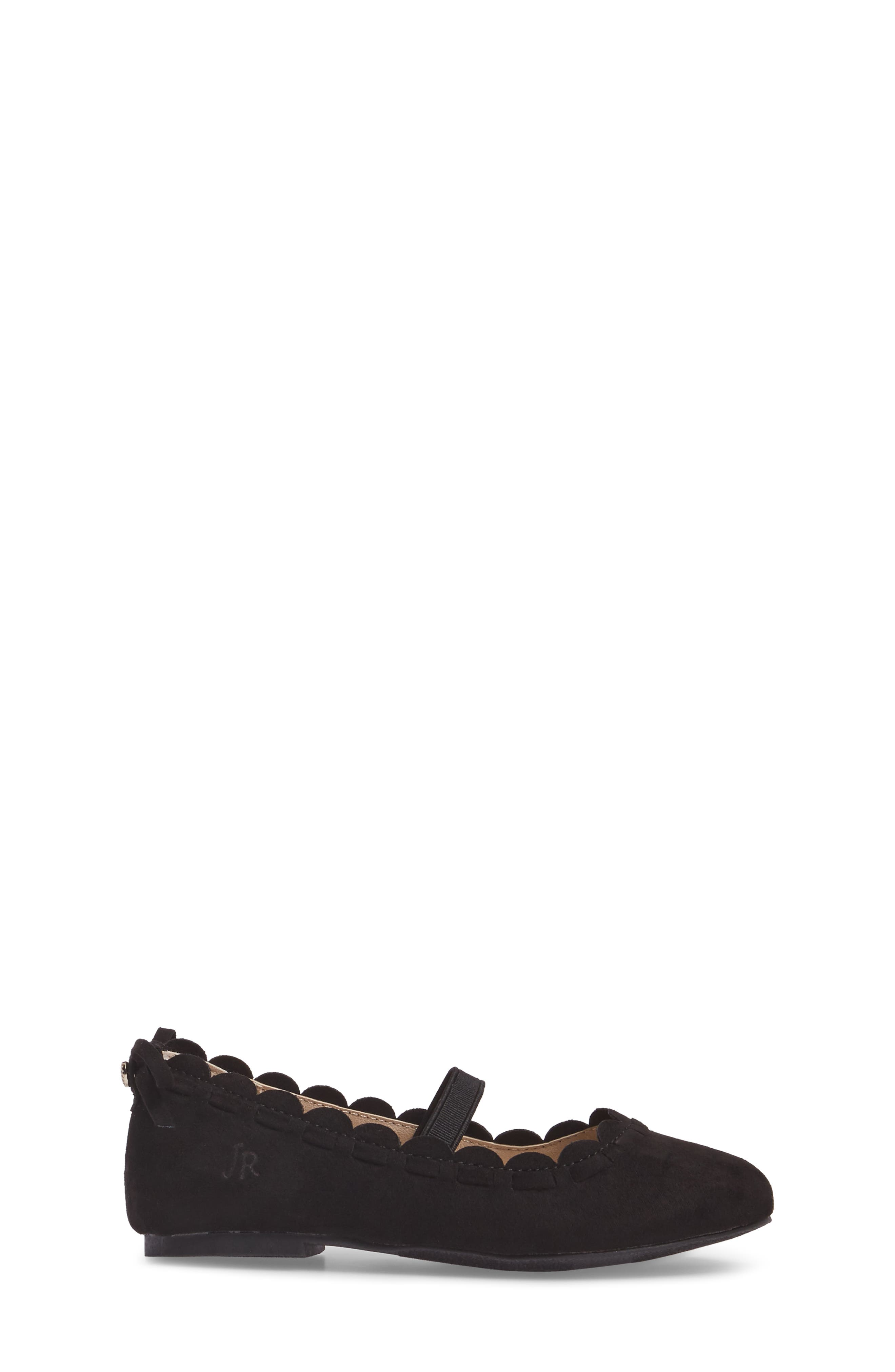 Little Miss Lucie Scalloped Mary Jane Flat,                             Alternate thumbnail 3, color,                             001
