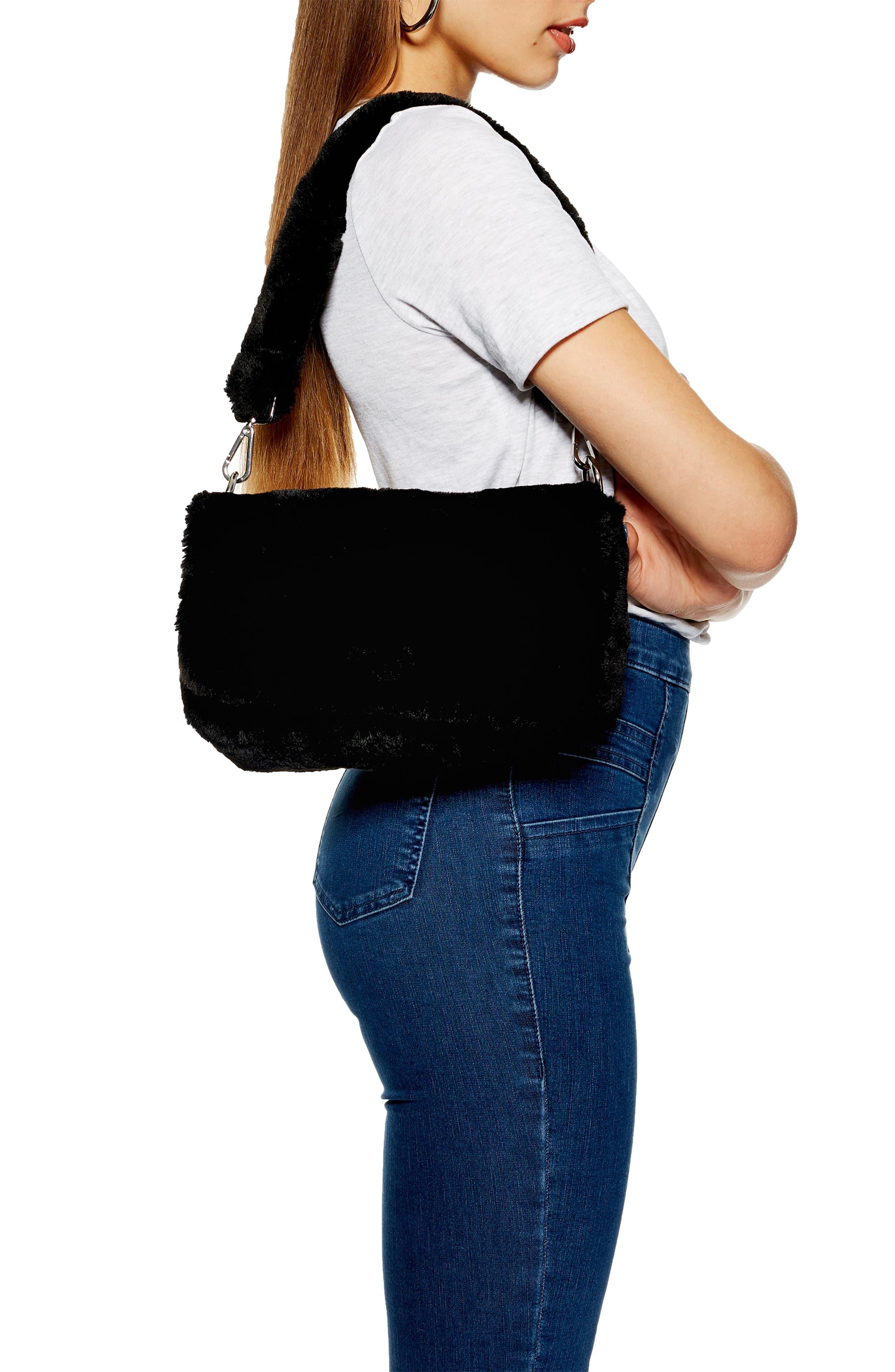 Cici Faux Fur Shoulder Bag,                             Alternate thumbnail 2, color,                             BLACK