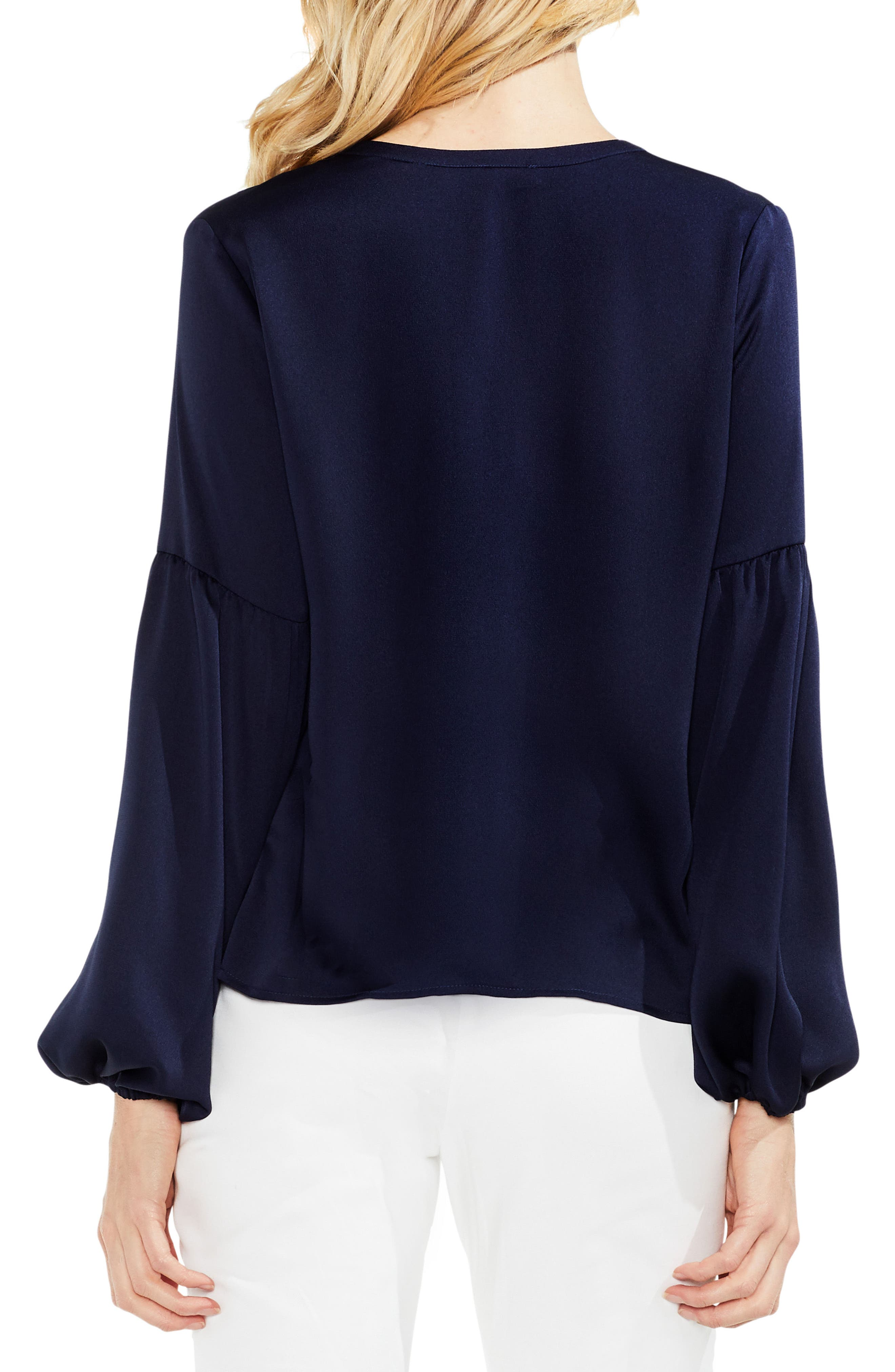 Lace-Up Hammered Satin Blouse,                             Alternate thumbnail 11, color,
