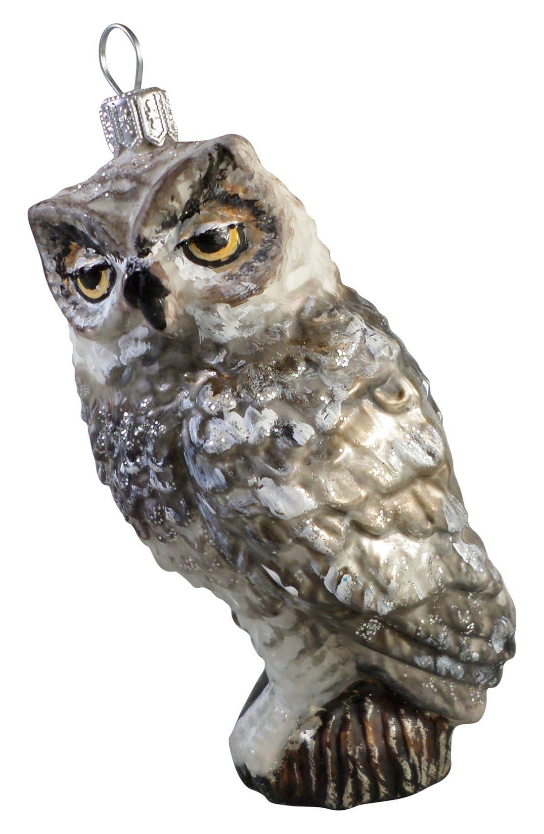 Handblown Glass Owl Ornament, Main, color, 040