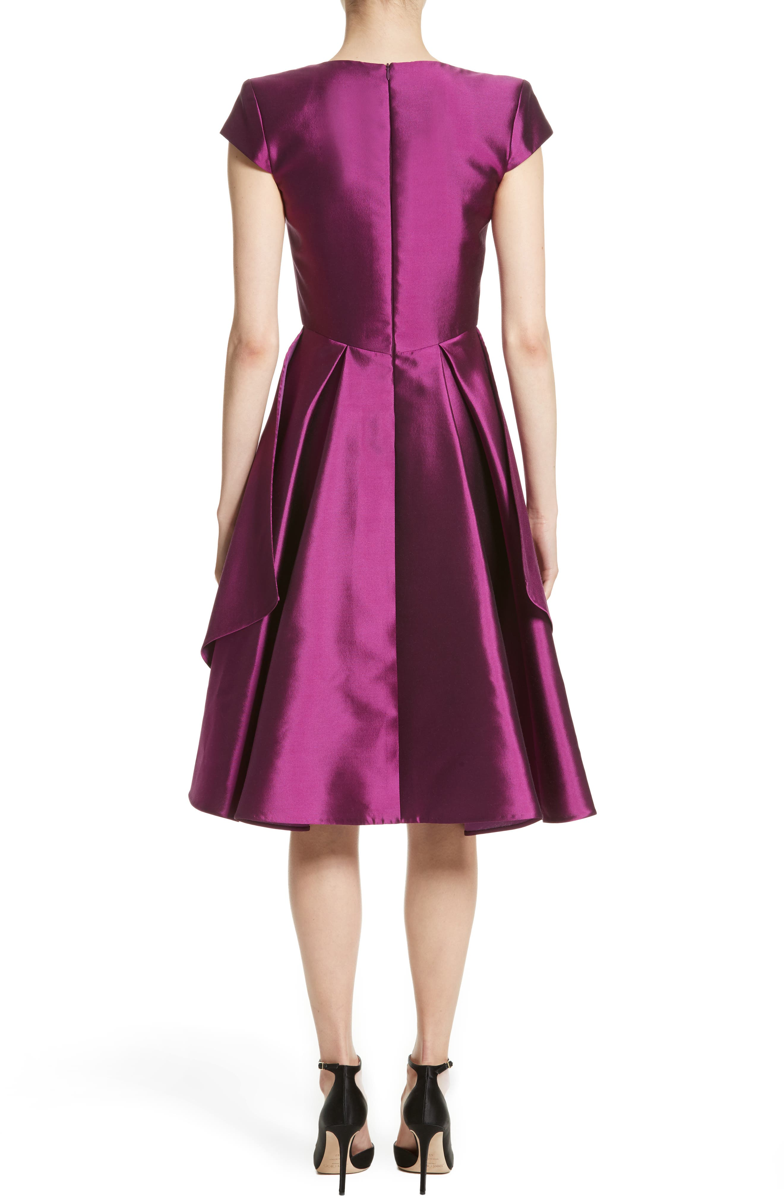 Fit & Flare Faille Dress,                             Alternate thumbnail 2, color,