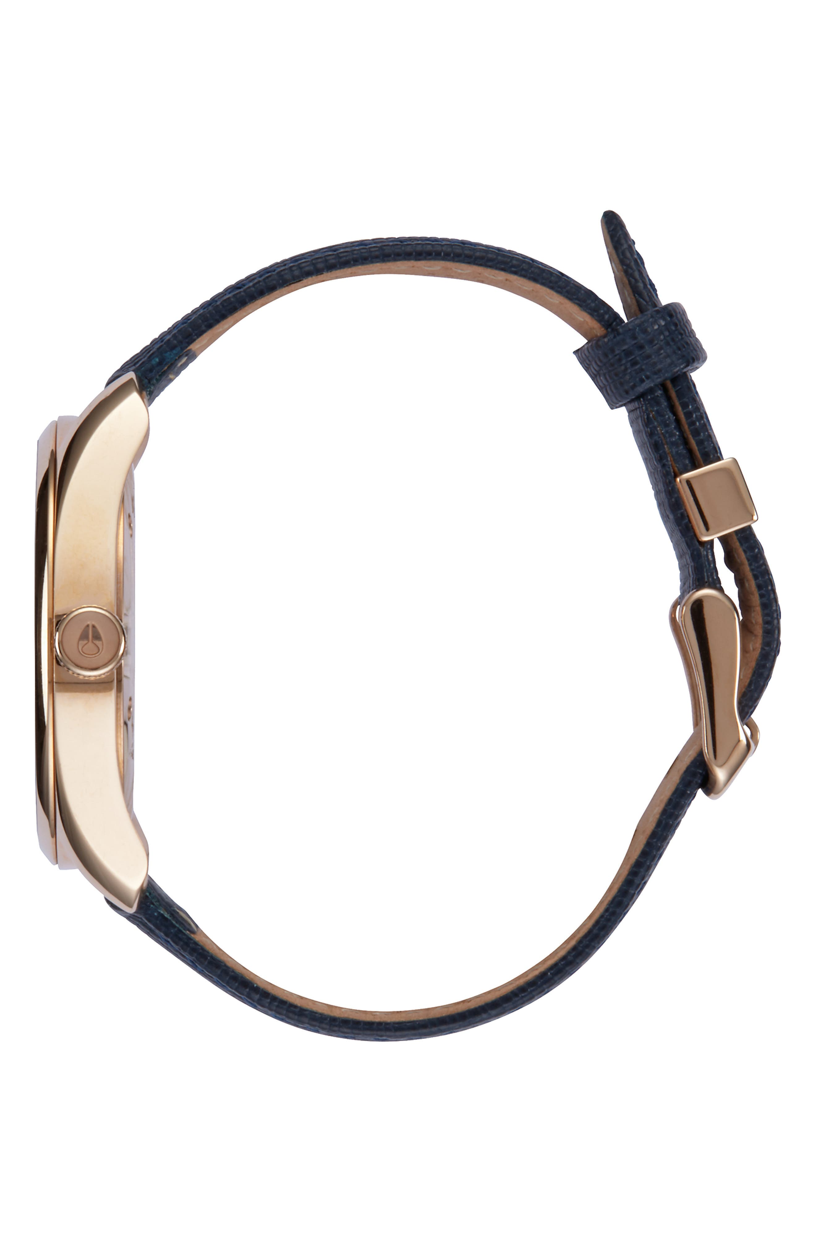 'Bullet' Guilloche Dial Oval Leather Strap Watch, 38mm,                             Alternate thumbnail 3, color,                             NAVY/ ROSE GOLD