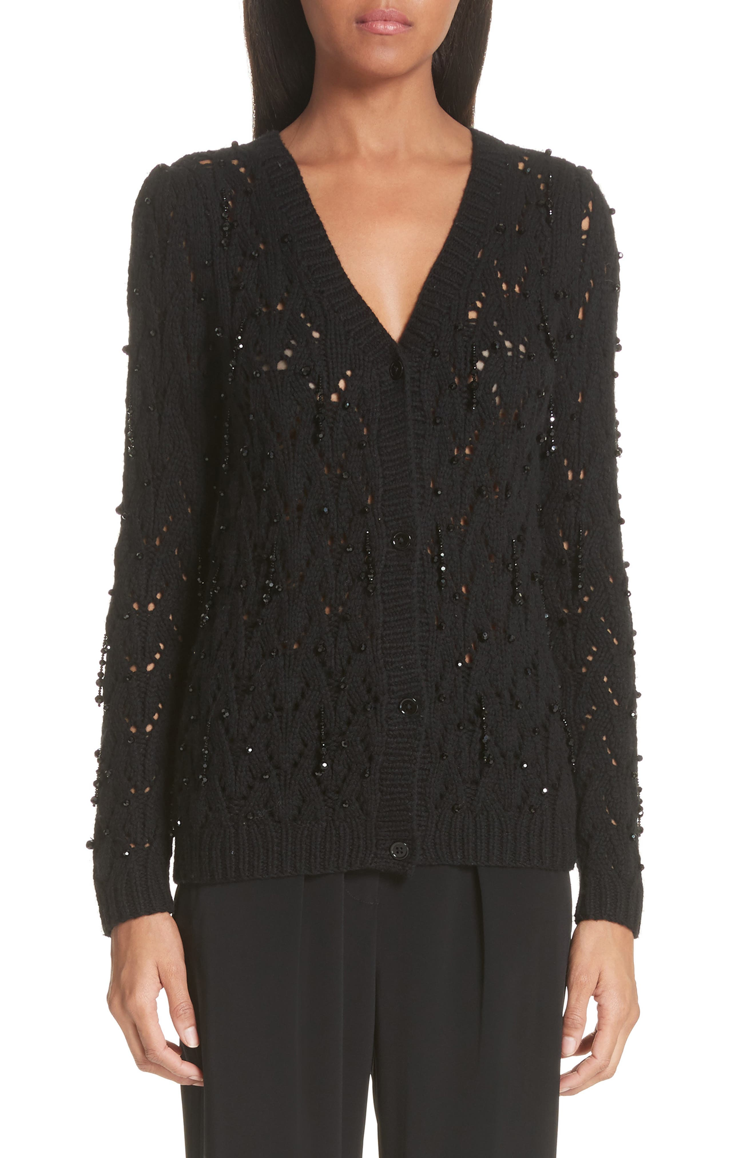 Beaded Wool & Cashmere Cardigan,                         Main,                         color, BLACK