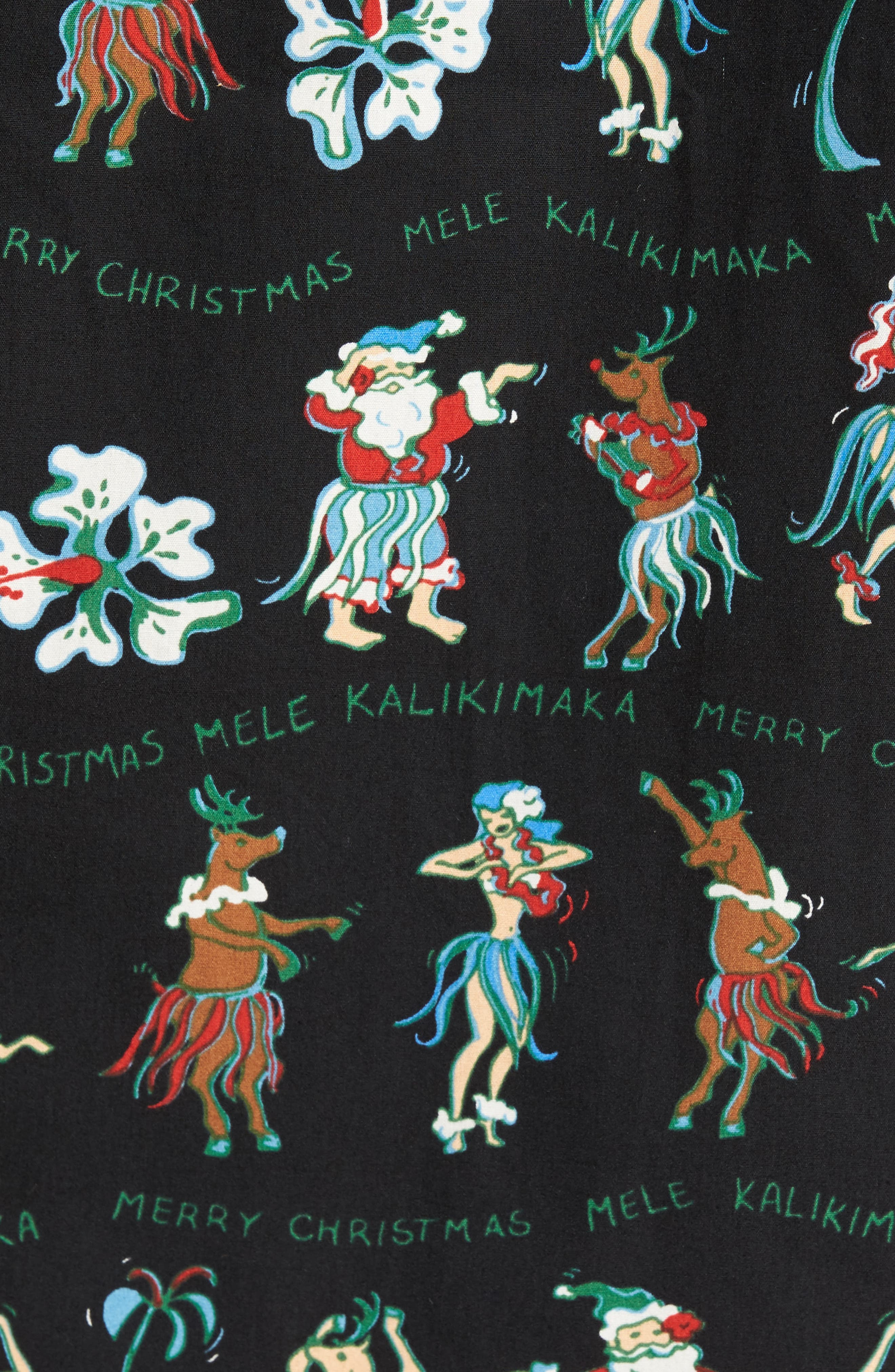 Kalikimaka Classic Fit Print Camp Shirt,                             Alternate thumbnail 5, color,                             001