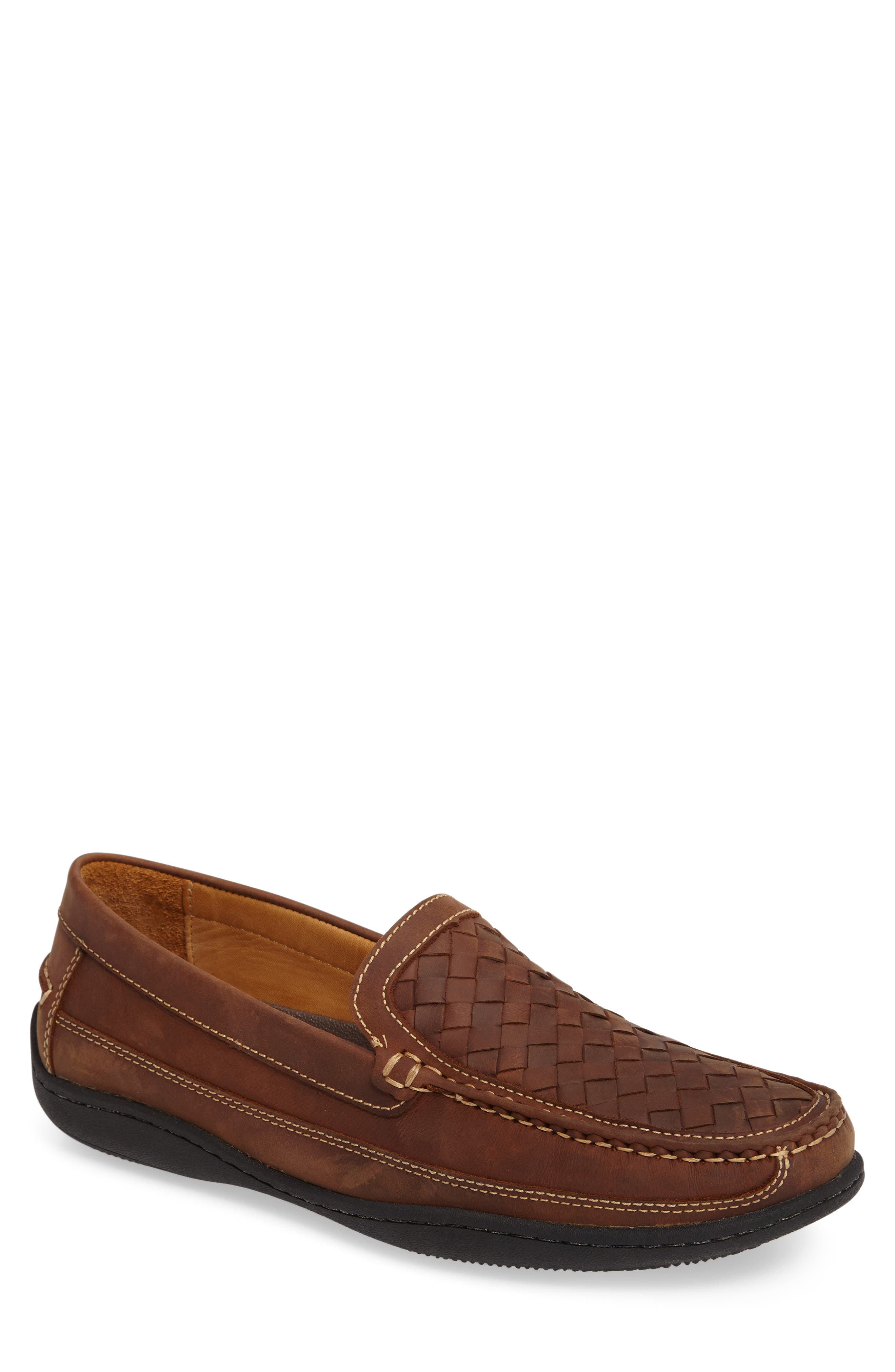 JOHNSTON & MURPHY Fowler Woven Loafer, Main, color, TAN LEATHER