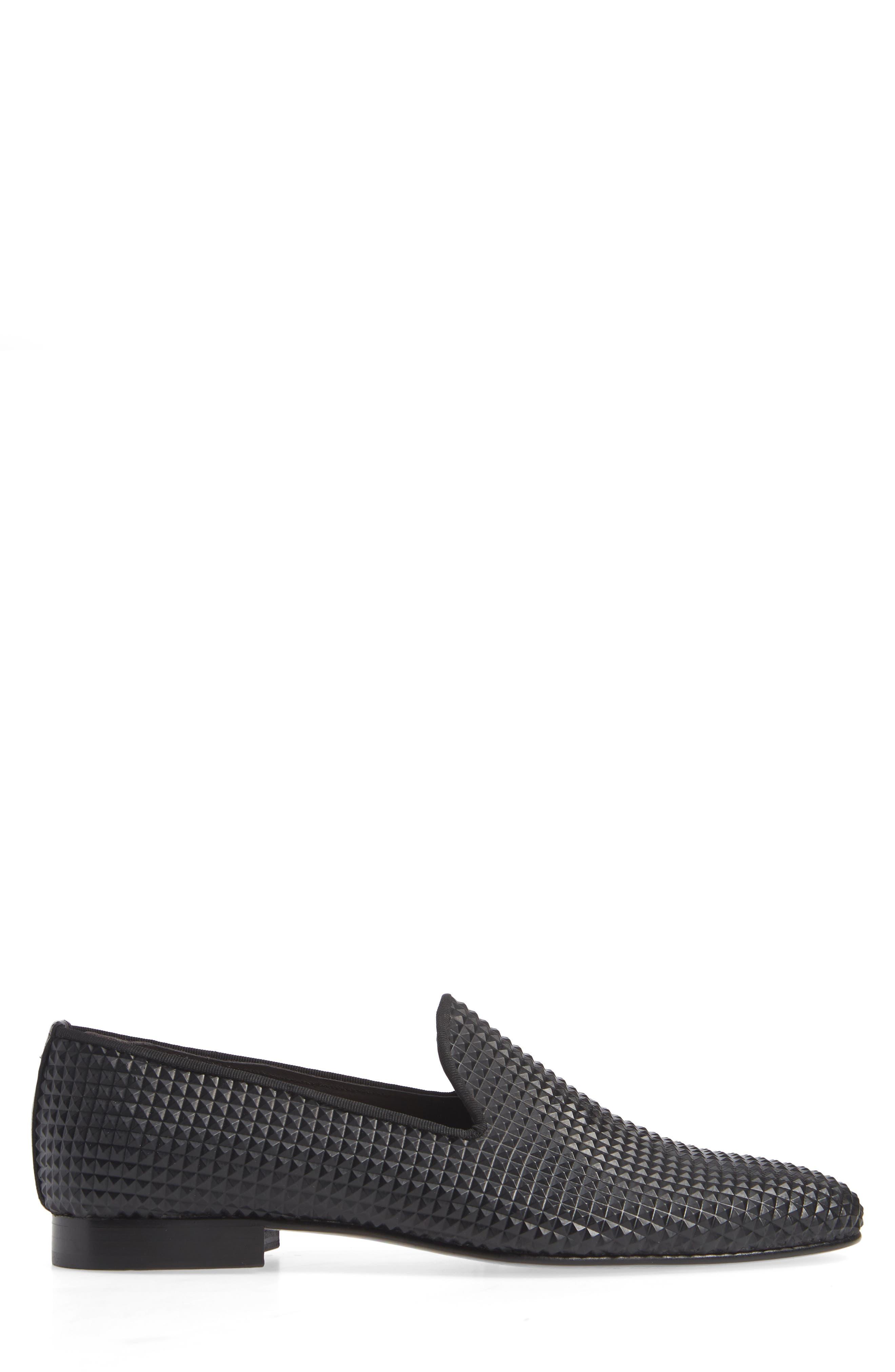 Milan Studded Venetian Loafer,                             Alternate thumbnail 3, color,                             BLACK