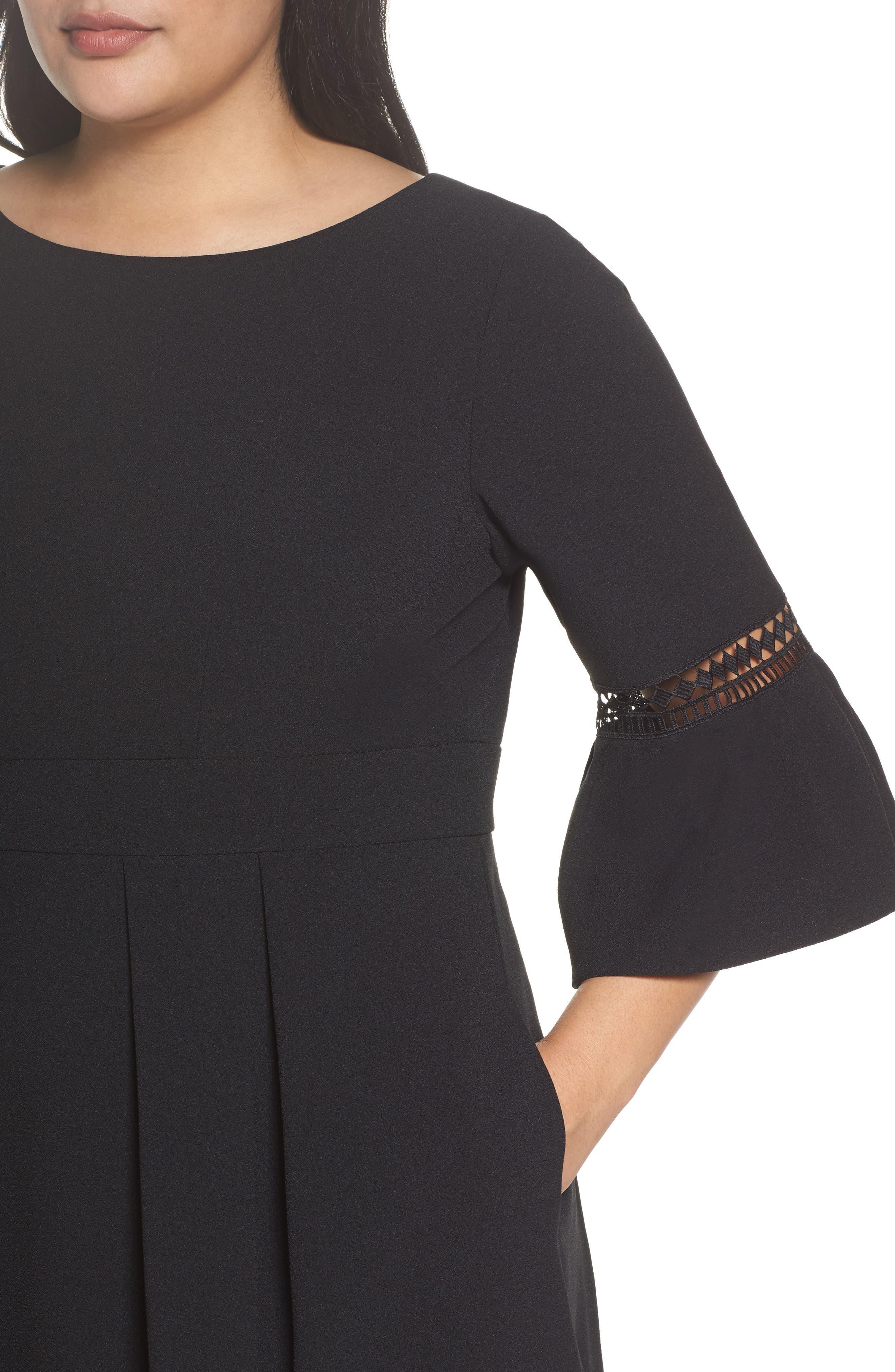 Bell Sleeve Fit & Flare Dress,                             Alternate thumbnail 4, color,                             BLACK