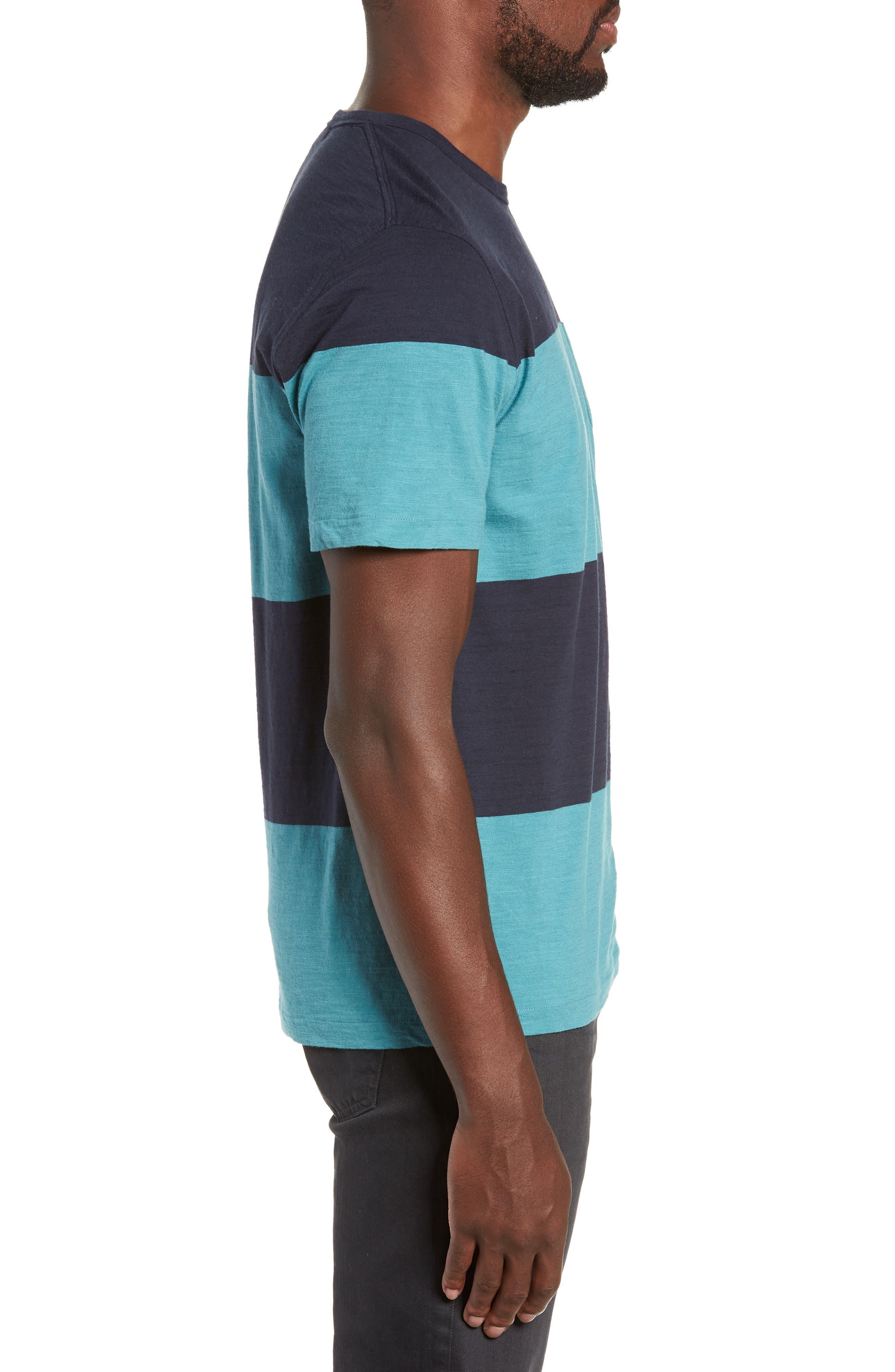 Colorblock Slubbed Pocket T-Shirt,                             Alternate thumbnail 3, color,                             NAVY/ BLUE