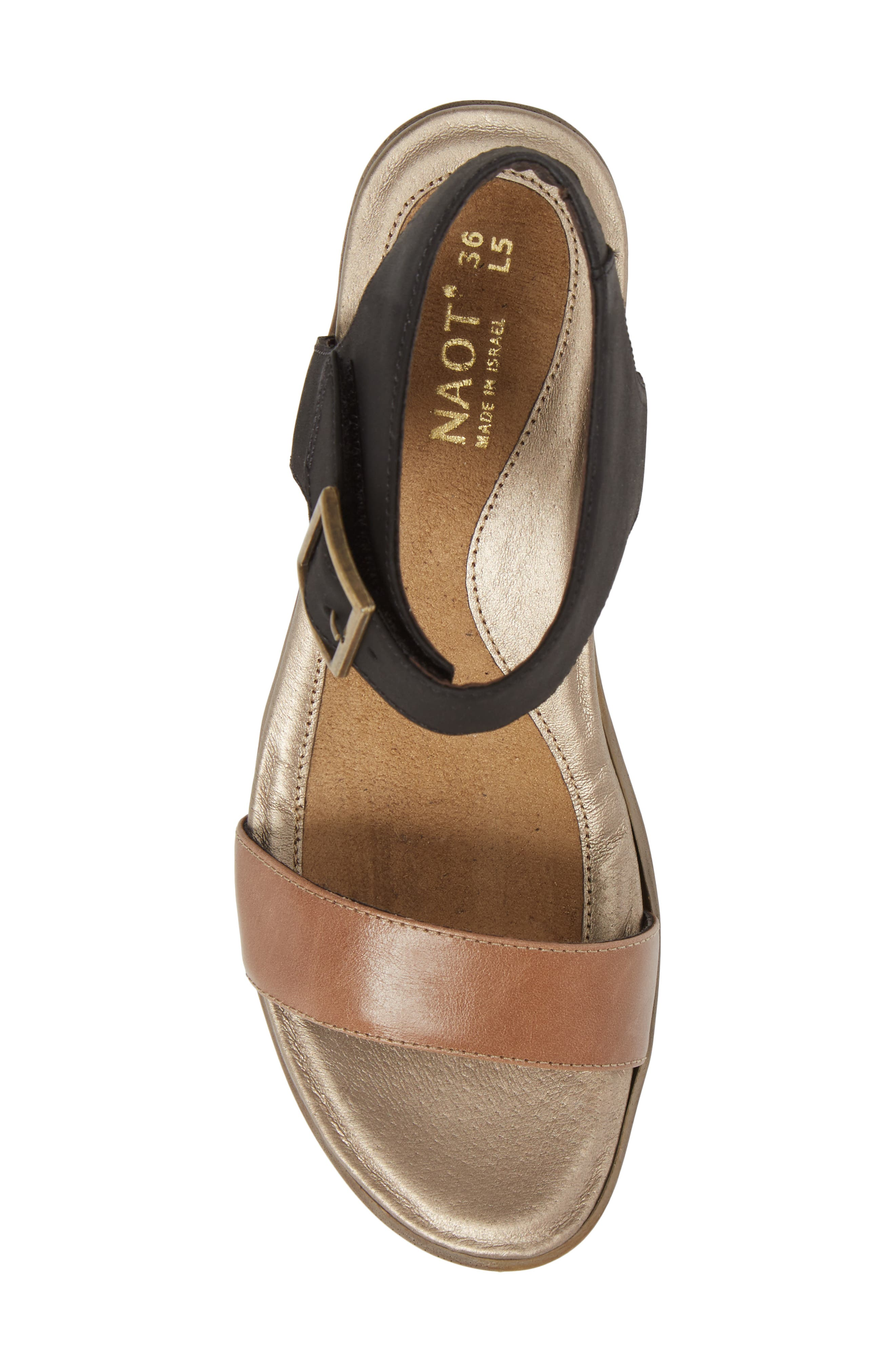 Caprice Wedge Sandal,                             Alternate thumbnail 5, color,                             TAN LEATHER
