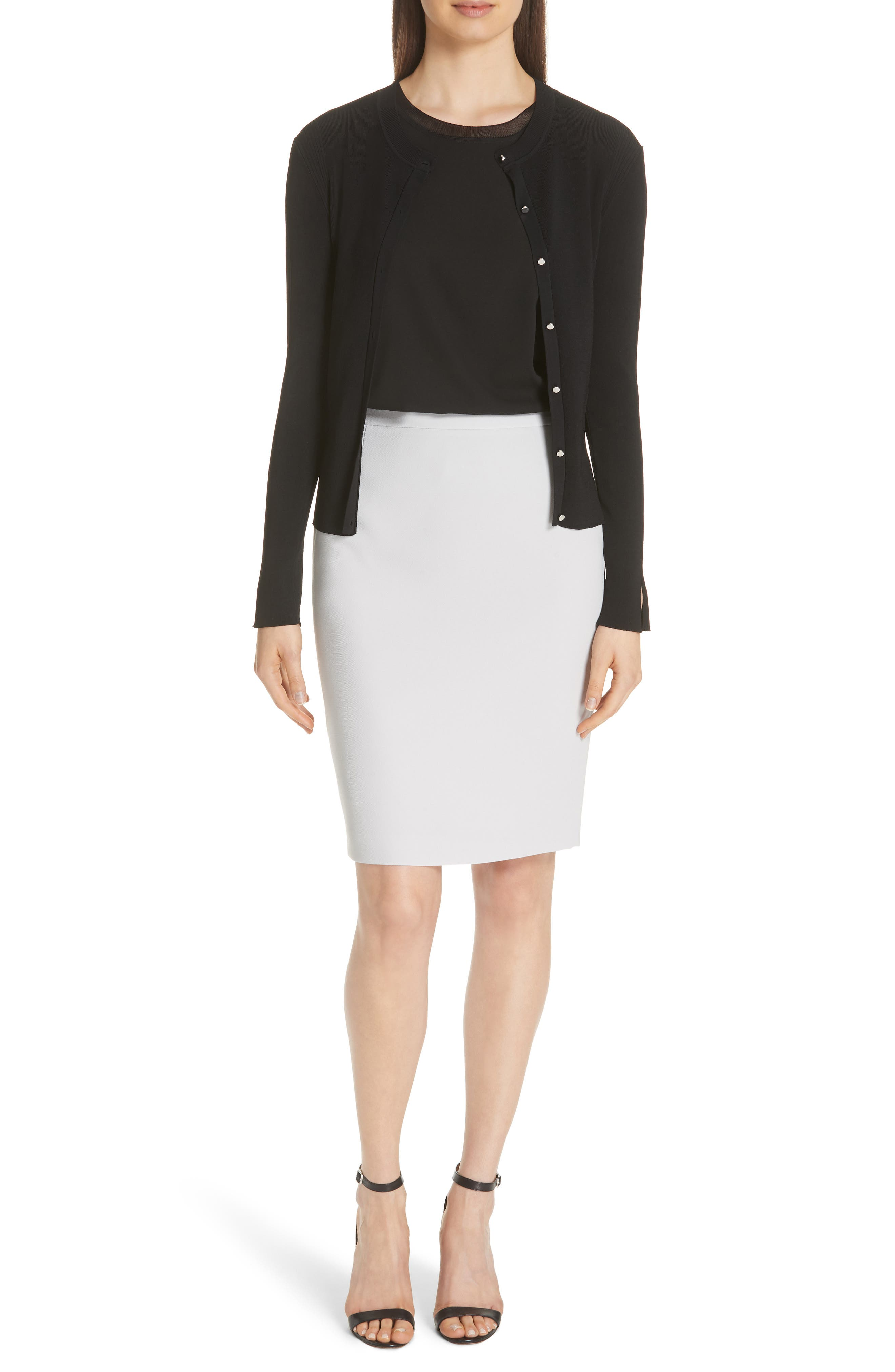 Istora Stretch Silk Top,                         Main,                         color, BLACK