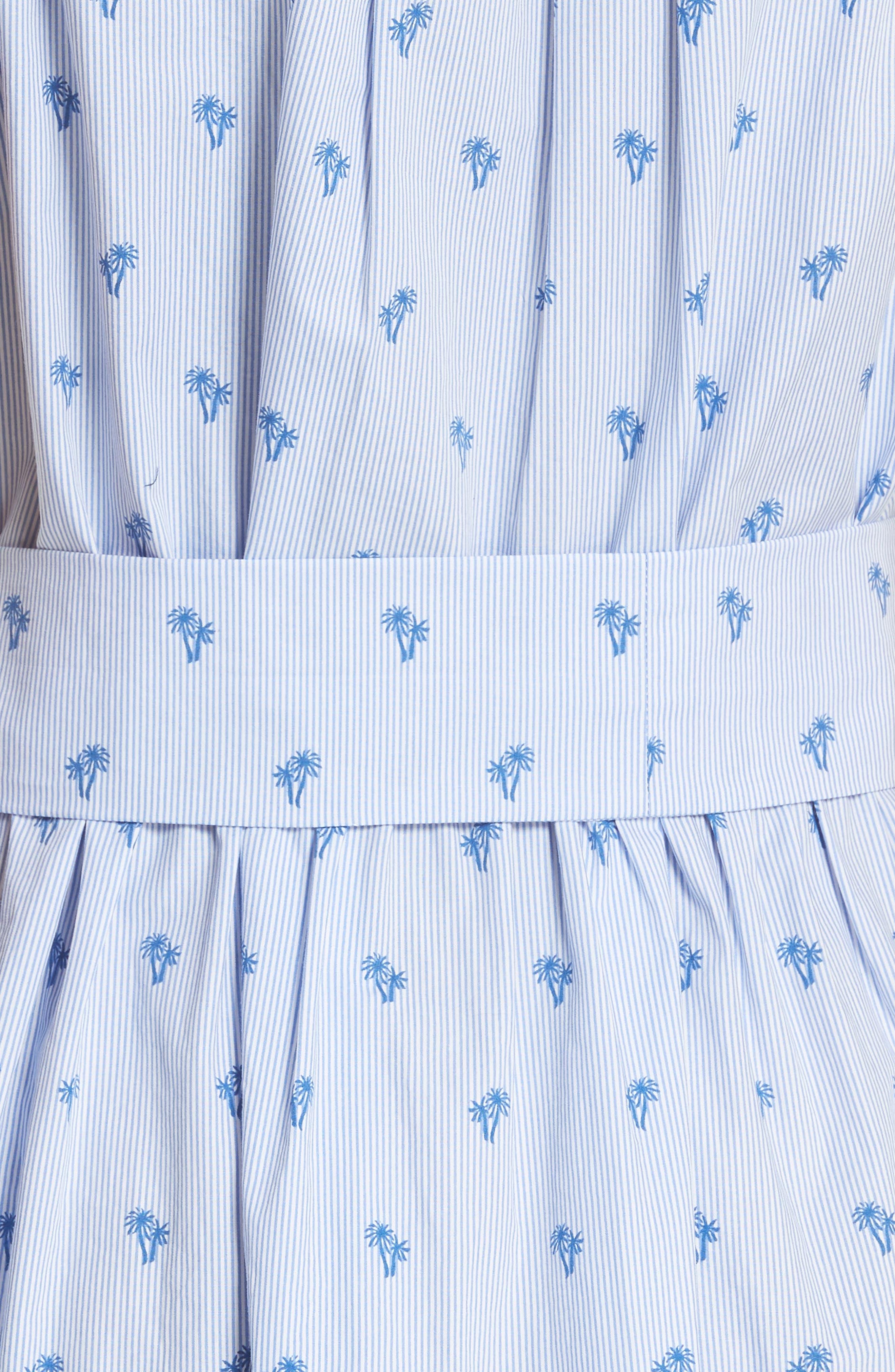 palm tree pinstripe sleeveless cotton dress,                             Alternate thumbnail 5, color,                             436