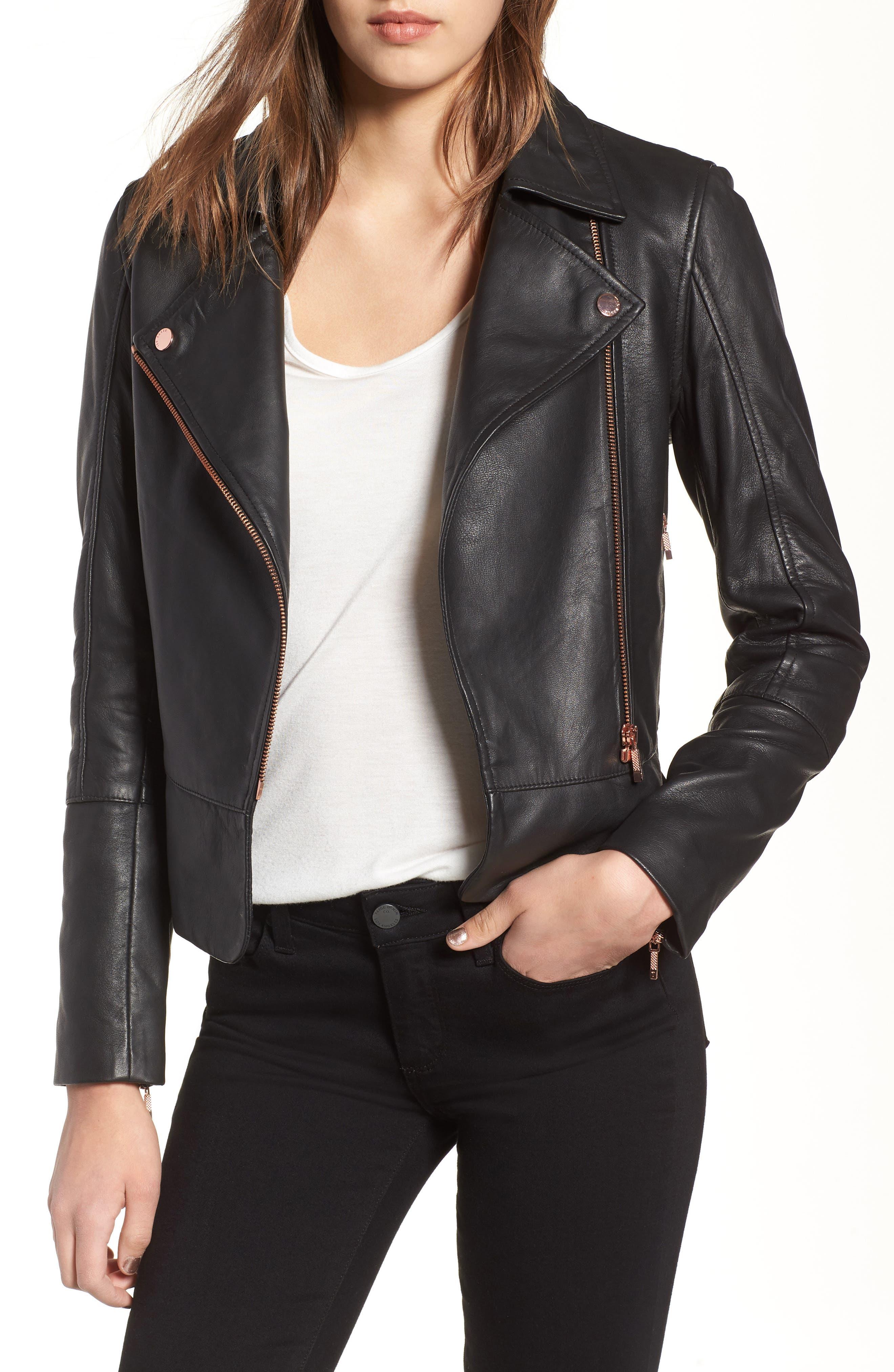 Lizia Leather Biker Jacket,                         Main,                         color, 001
