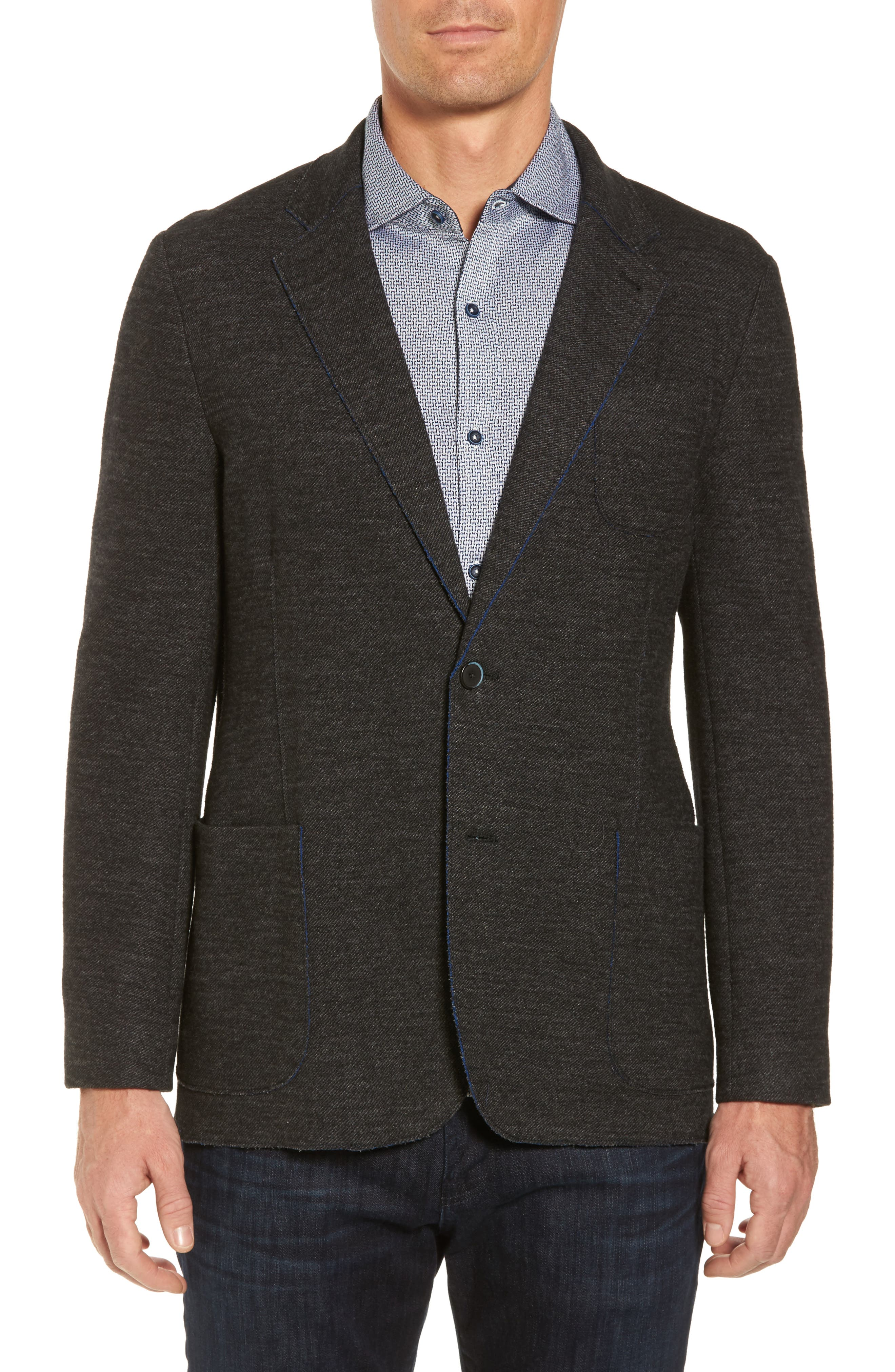 Raw Edge Cotton Blend Blazer,                         Main,                         color, 017