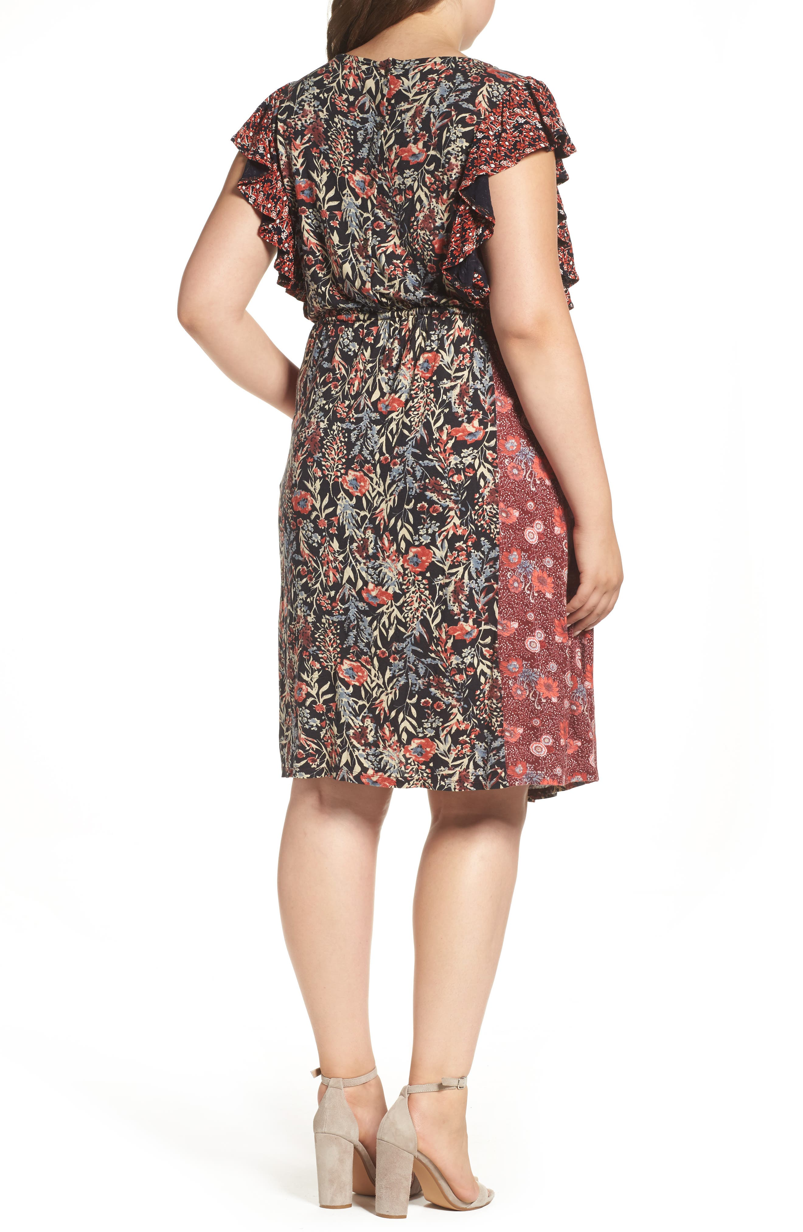 Mixed Floral Print Dress,                             Alternate thumbnail 2, color,                             640