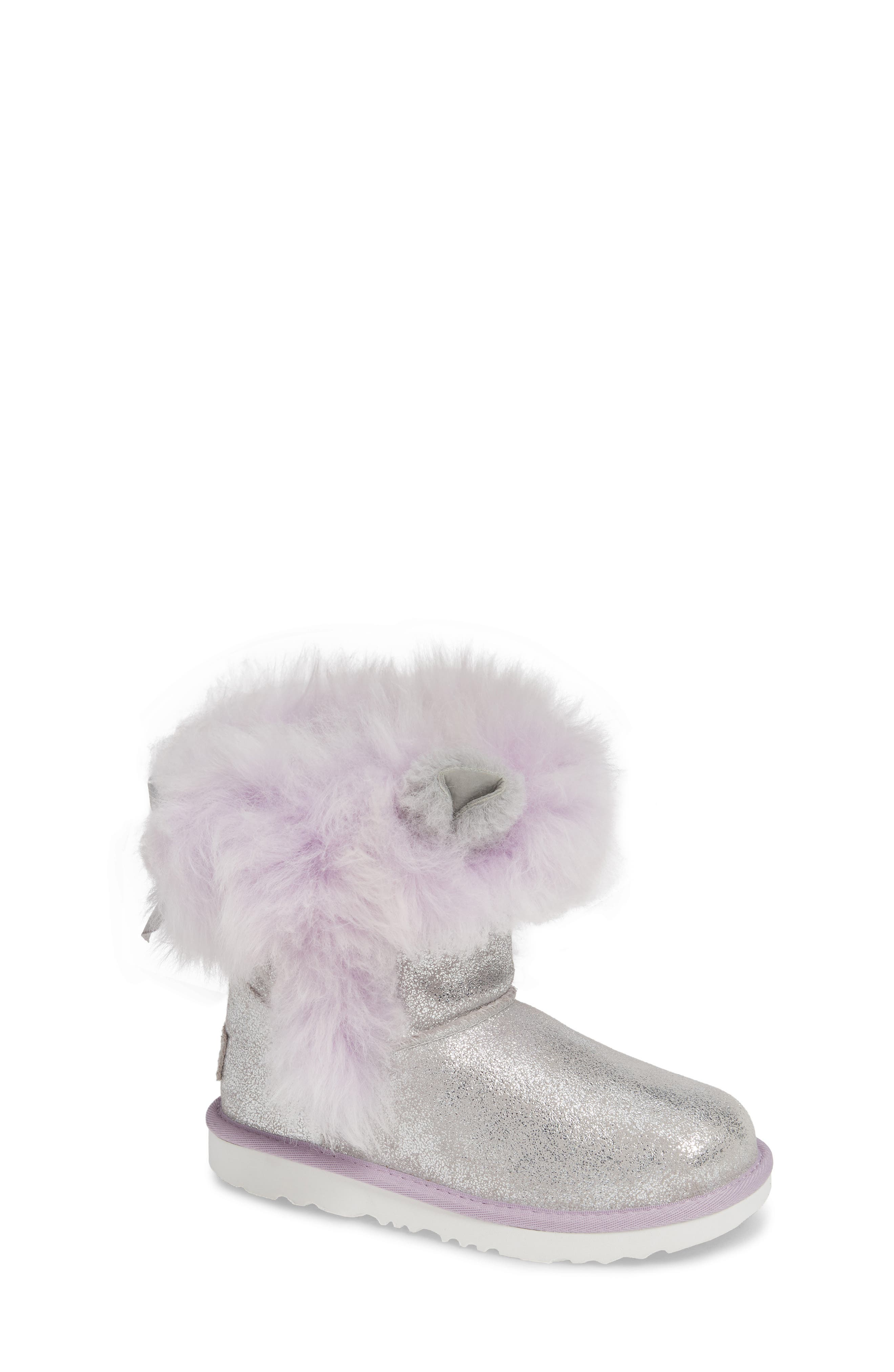 Maizey Classic Genuine Shearling Glitter Boot,                         Main,                         color, SILVER / LAVENDER