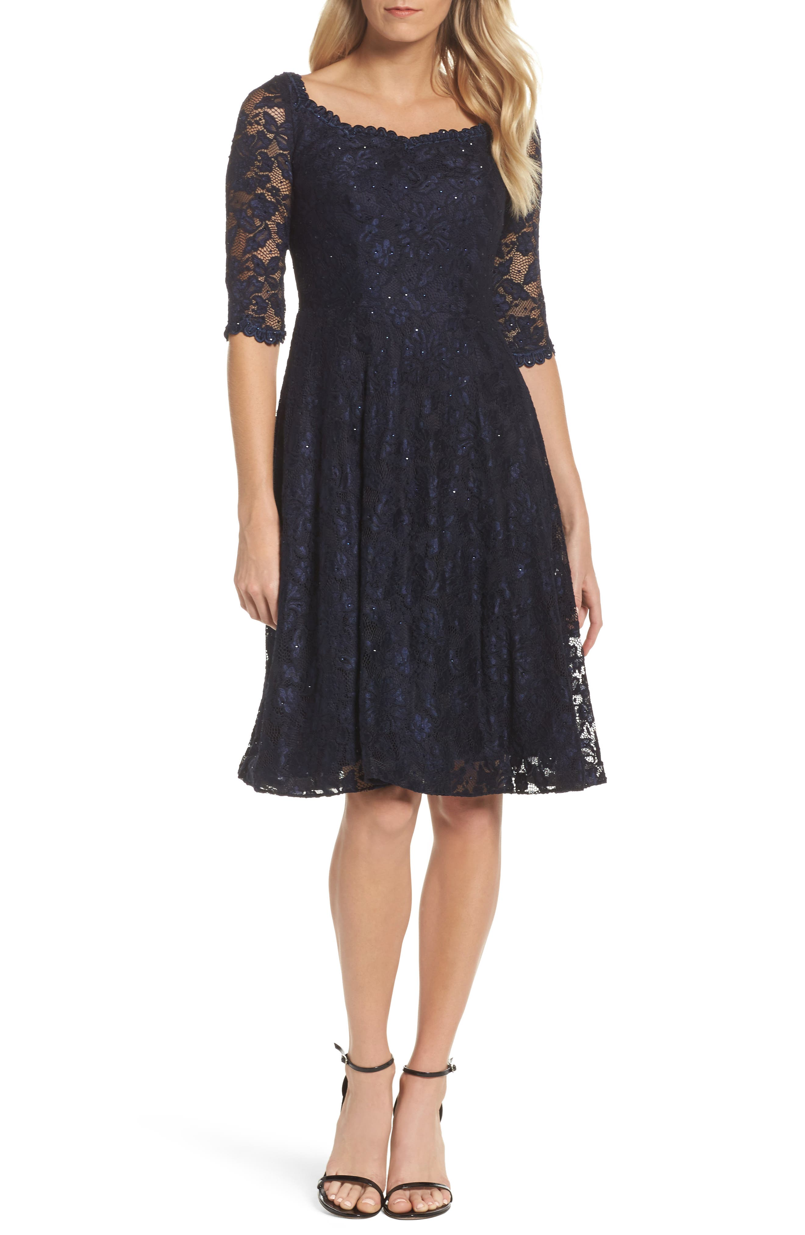 Fit & Flare Lace Dress,                             Main thumbnail 1, color,                             NAVY