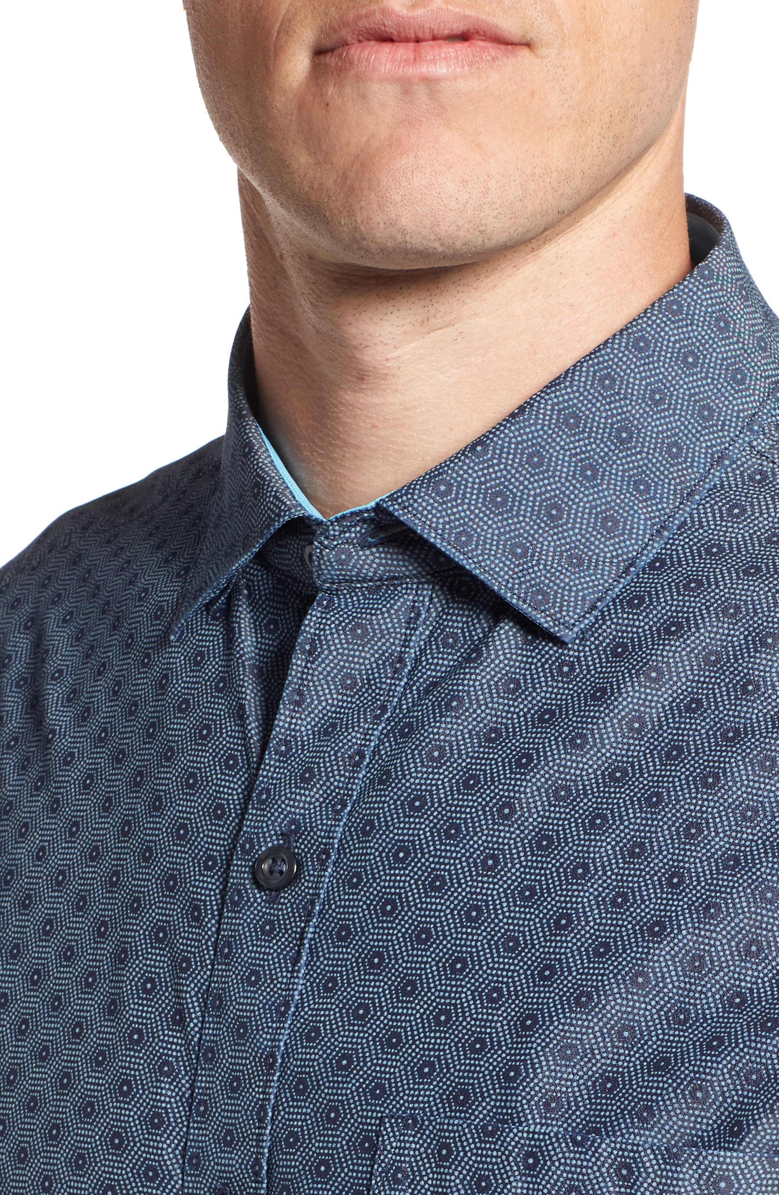 Rio del Geo Sport Shirt,                             Alternate thumbnail 4, color,                             OCEAN DEEP