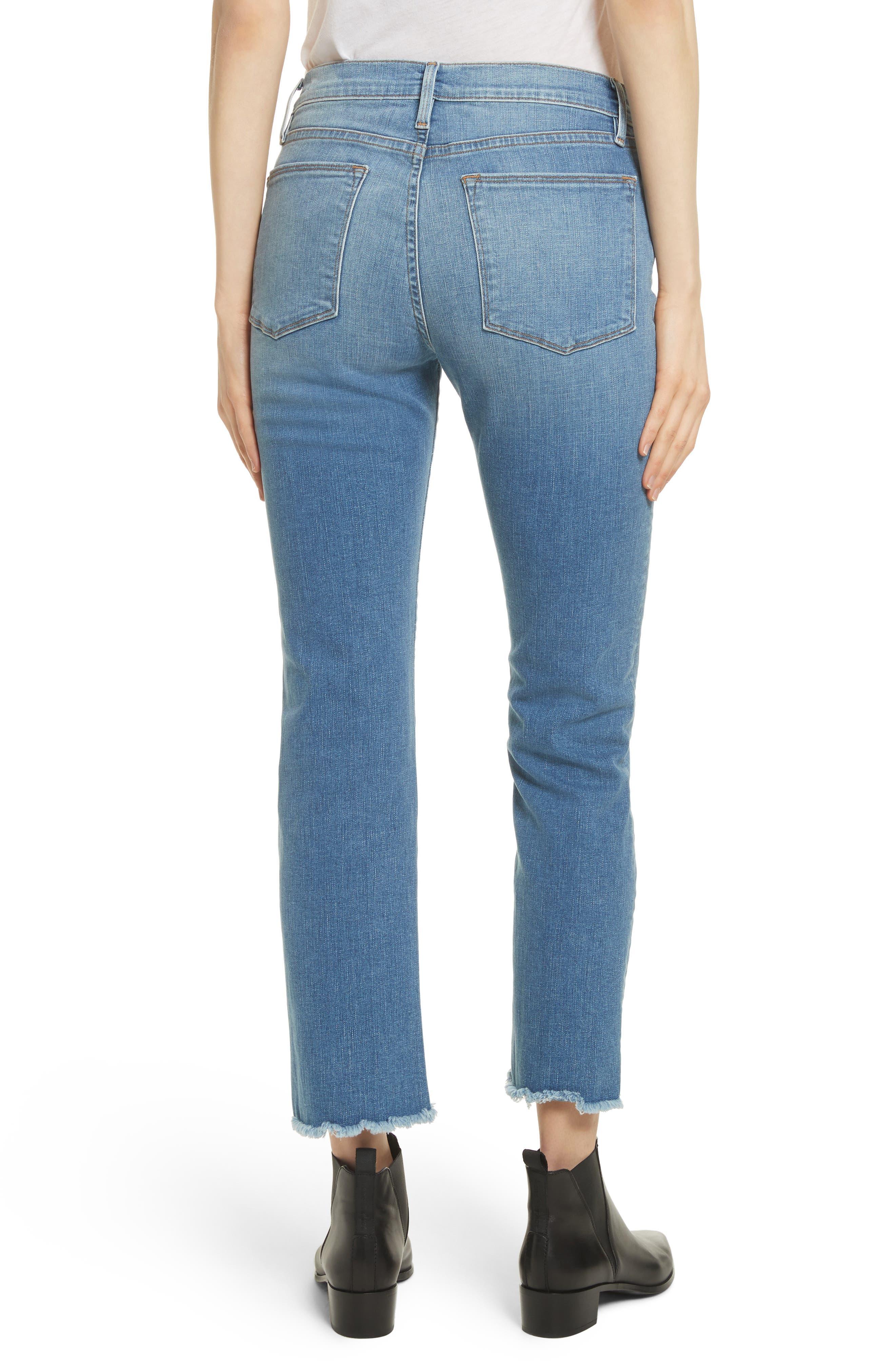 Le High Straight High Waist Triangle Hem Jeans,                             Alternate thumbnail 2, color,                             450
