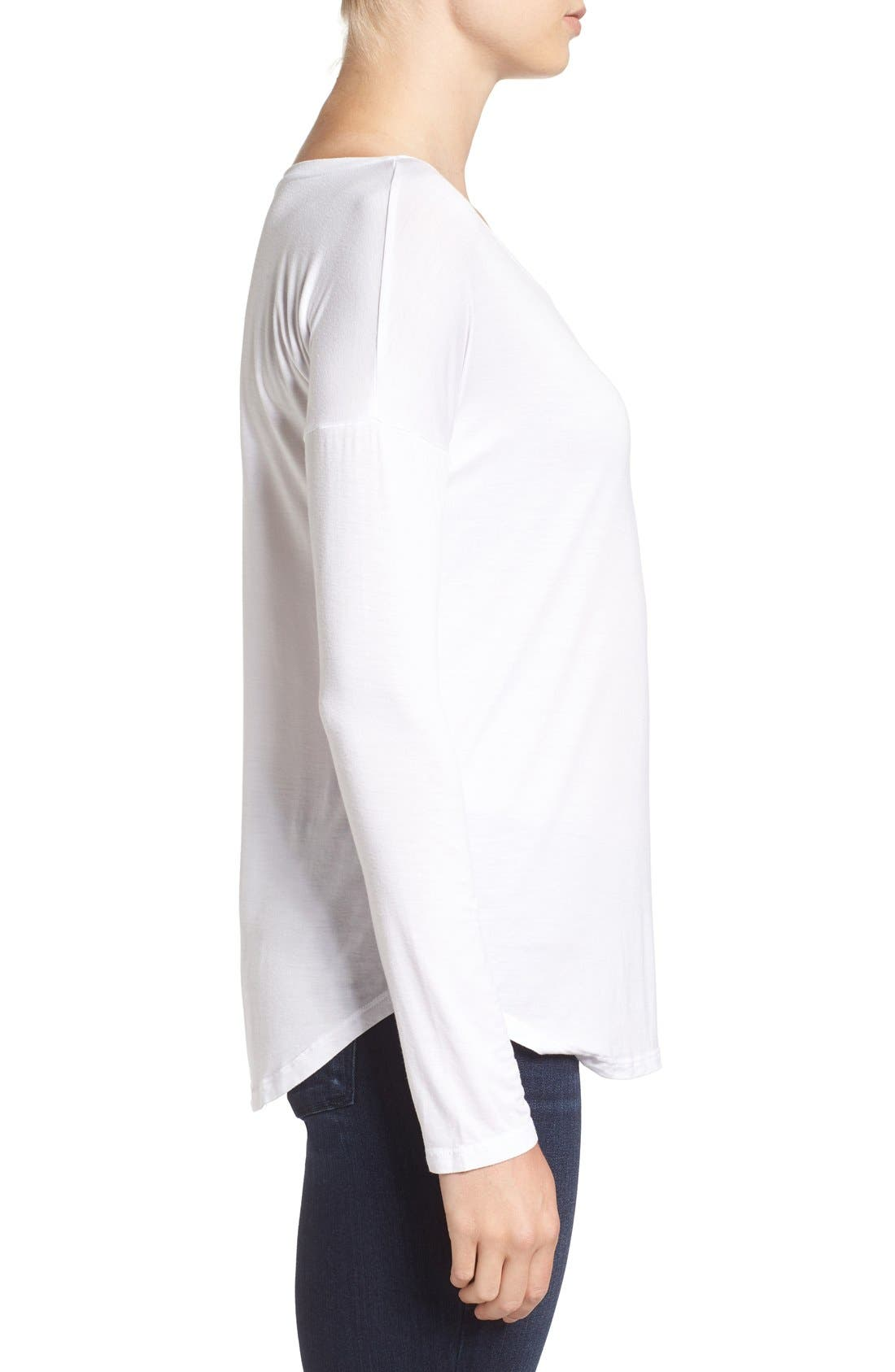 'Bess' Stretch Jersey Boatneck Tee,                             Alternate thumbnail 9, color,