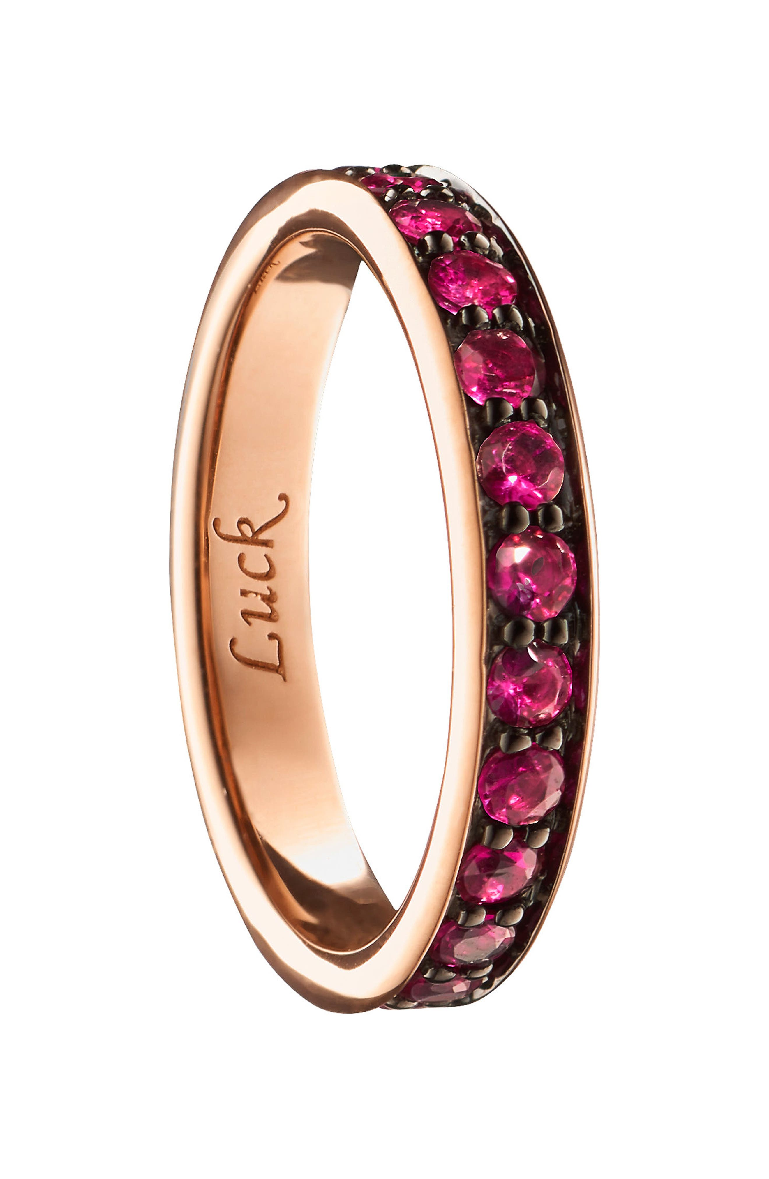Luck Ruby Poesy Ring Charm,                             Main thumbnail 1, color,                             18K ROSE GOLD