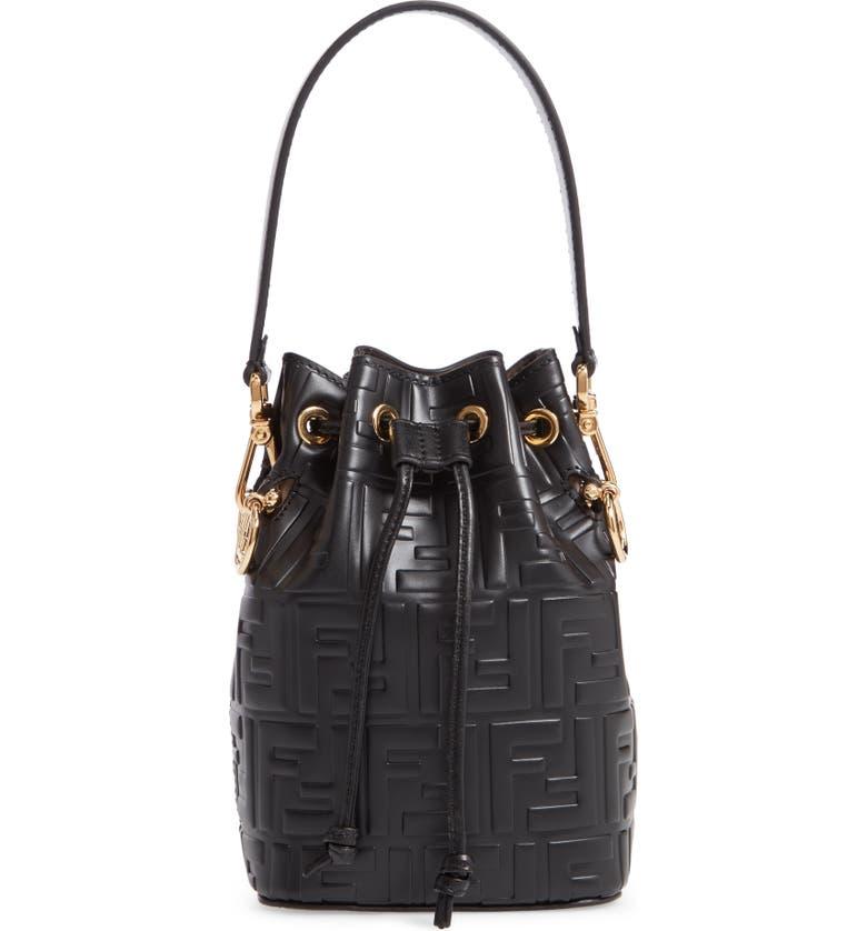 8d86e4f1fad6 Fendi Mini Mon Tresor Logo Leather Bucket Bag