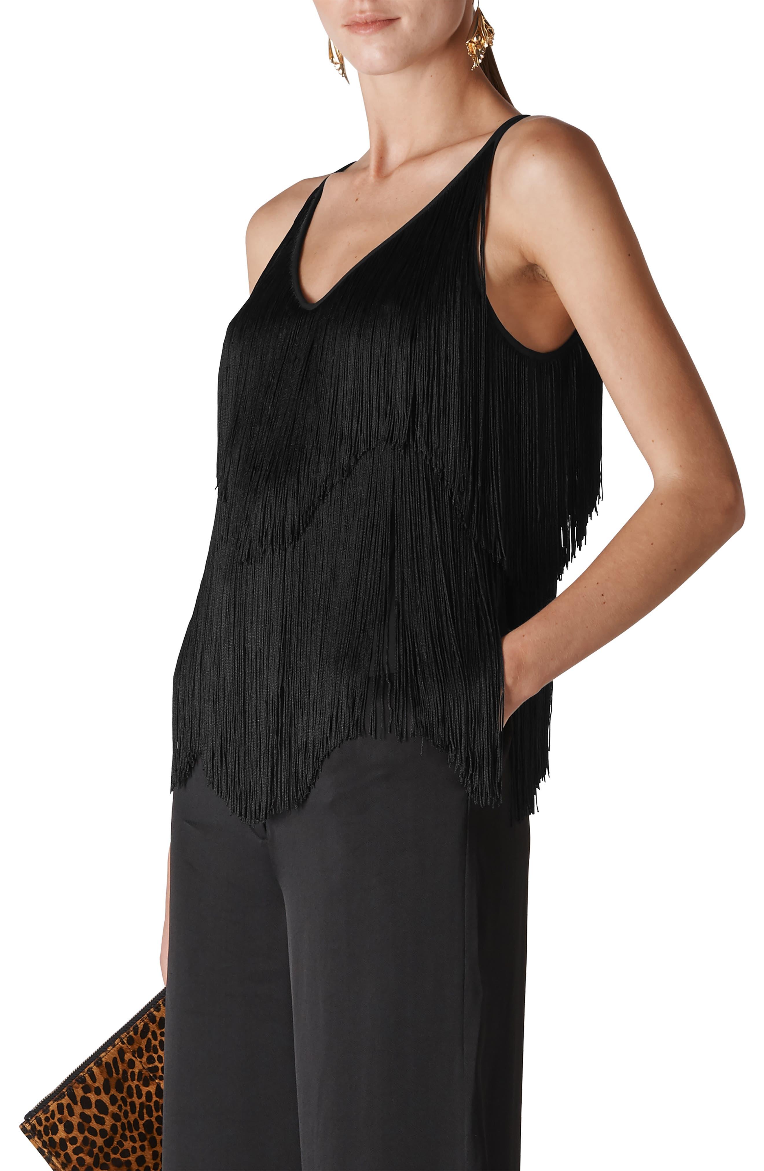 Melanie Fringe Camisole,                         Main,                         color, BLACK