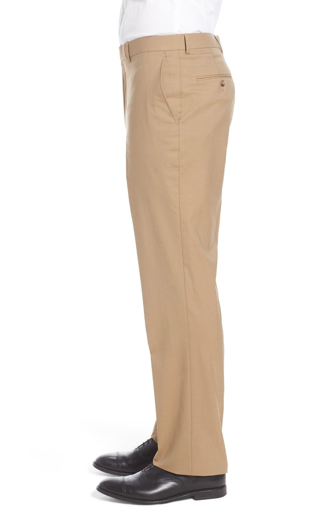 Flat Front Solid Stretch Wool Trousers,                             Alternate thumbnail 3, color,                             260