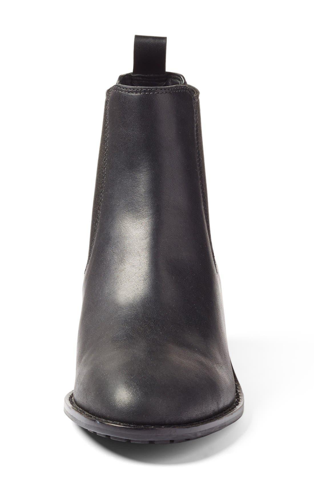 'Newburg' Waterproof Chelsea Boot,                             Alternate thumbnail 3, color,                             BLACK LEATHER