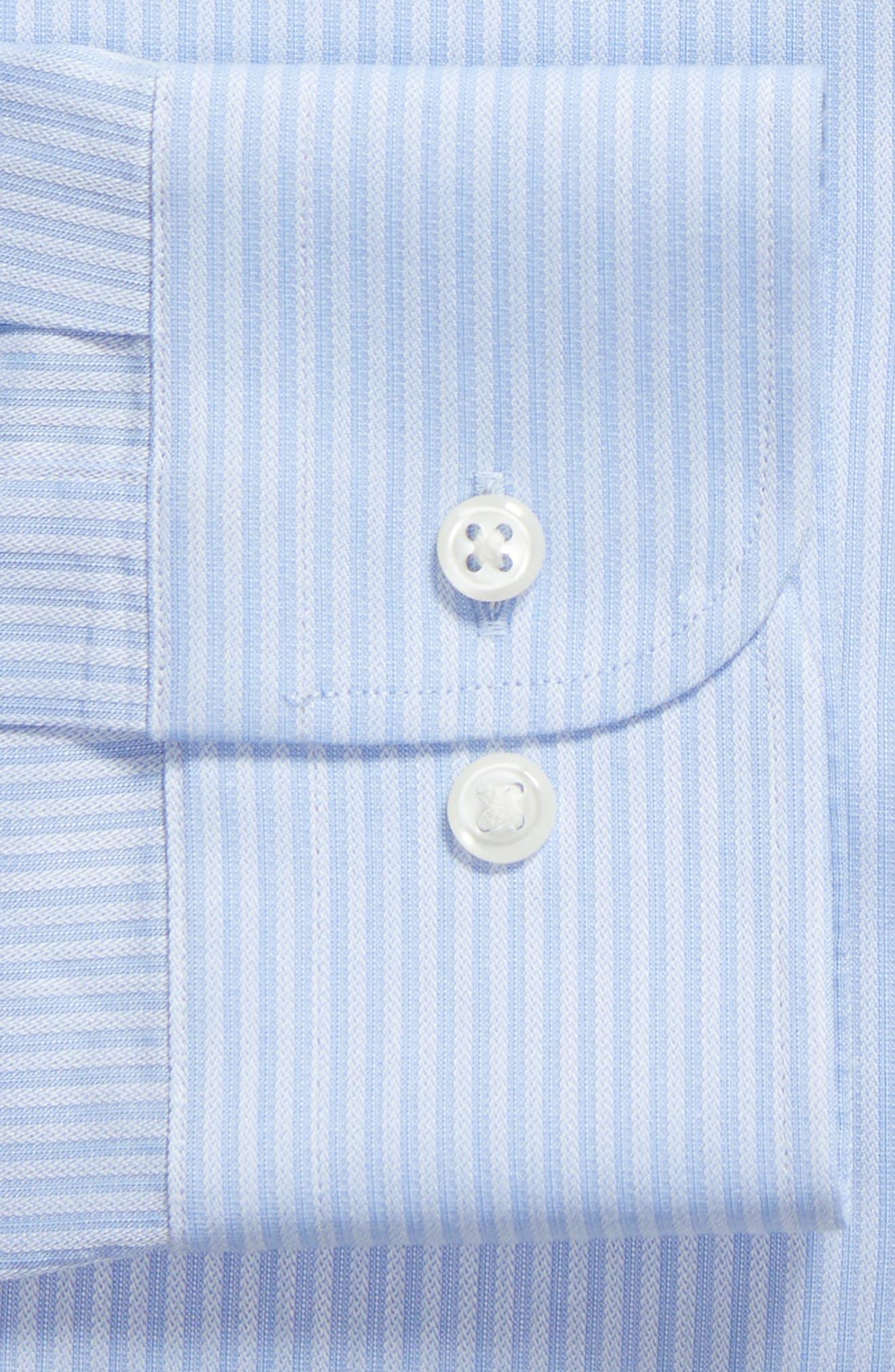 Tech-Smart Trim Fit Stretch Stripe Dress Shirt,                             Alternate thumbnail 6, color,                             450