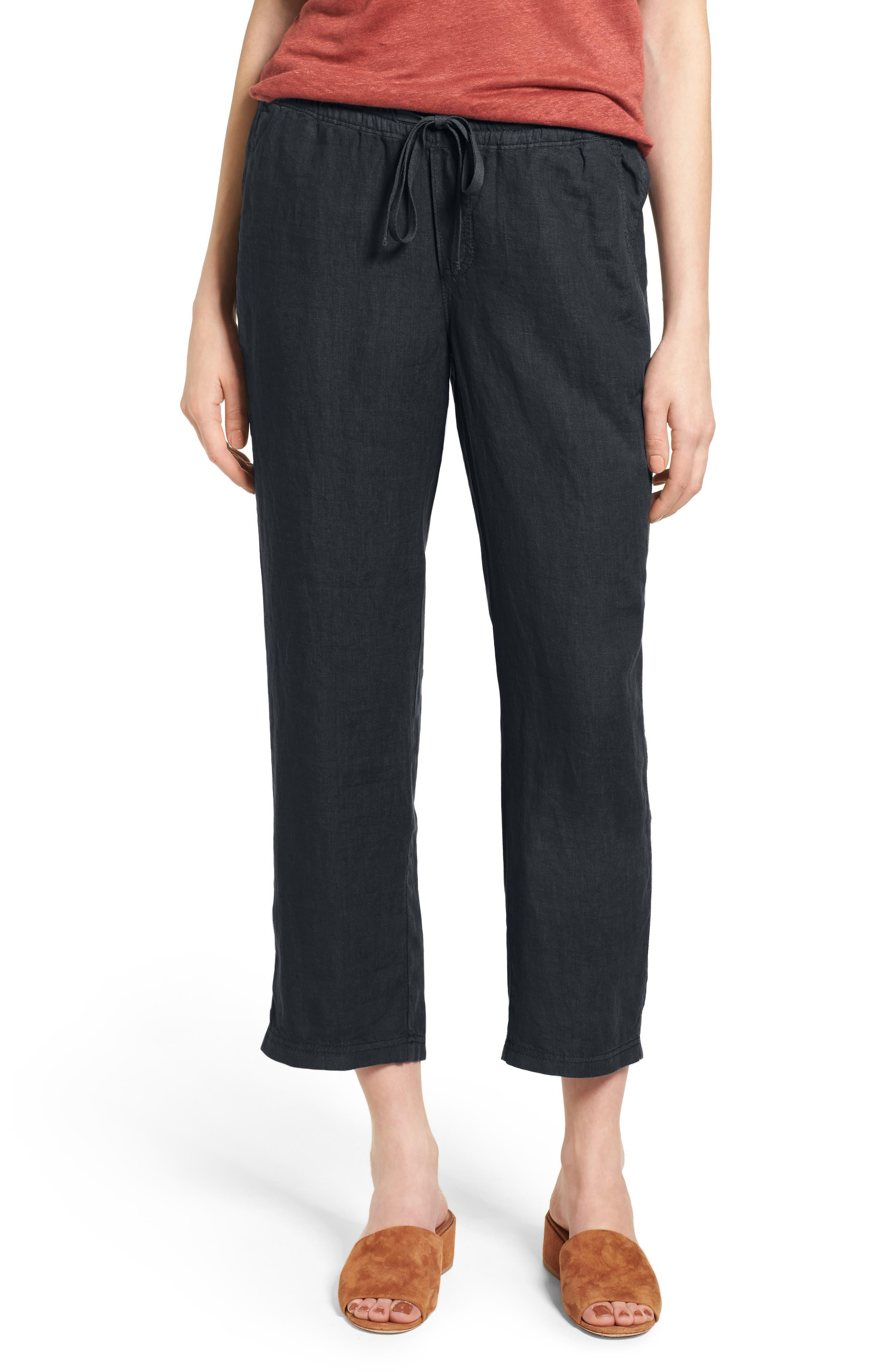 Linen Crop Pants,                             Main thumbnail 6, color,