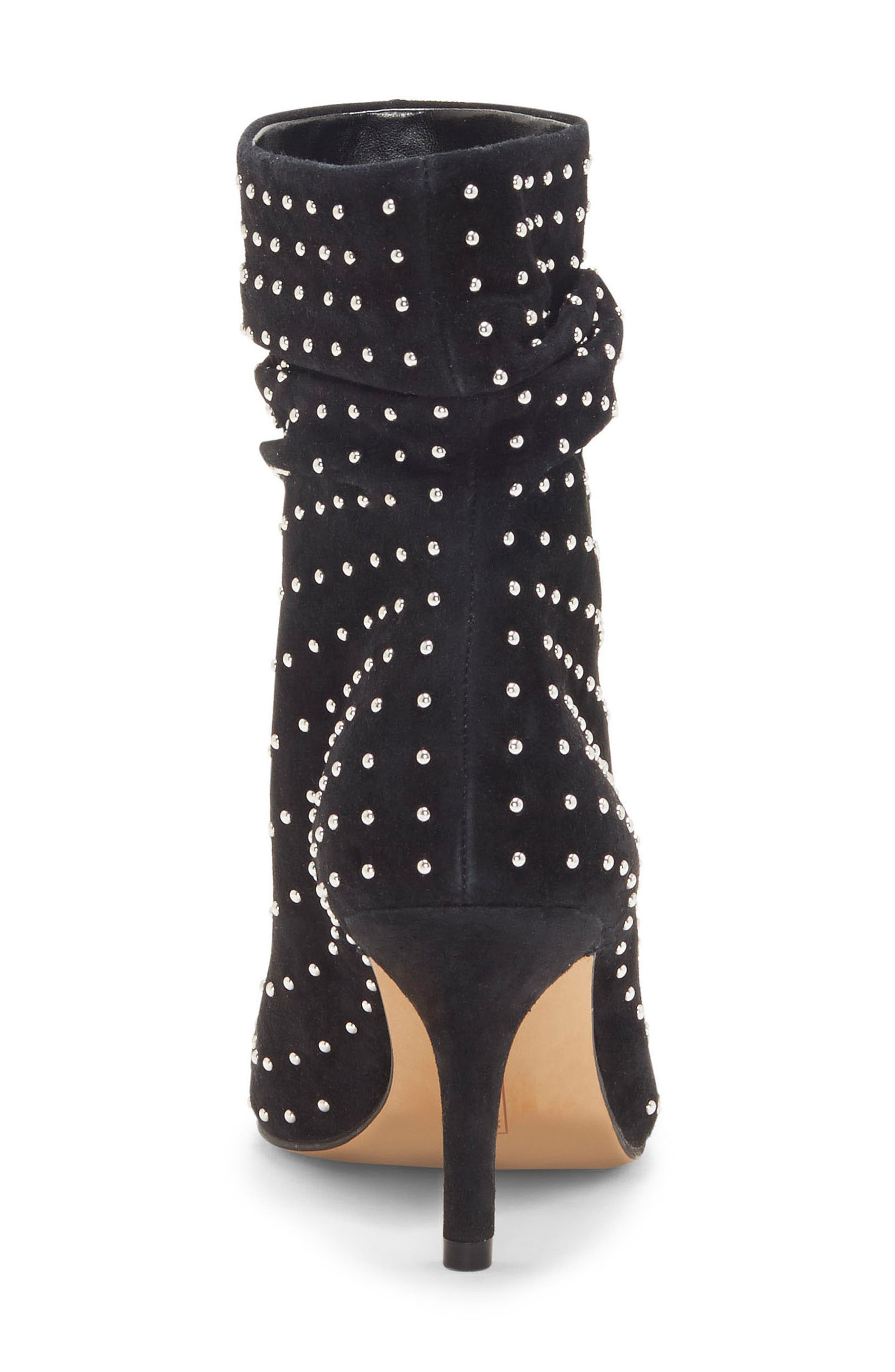 Abriannie Studded Slouchy Bootie,                             Alternate thumbnail 6, color,                             BLACK SUEDE