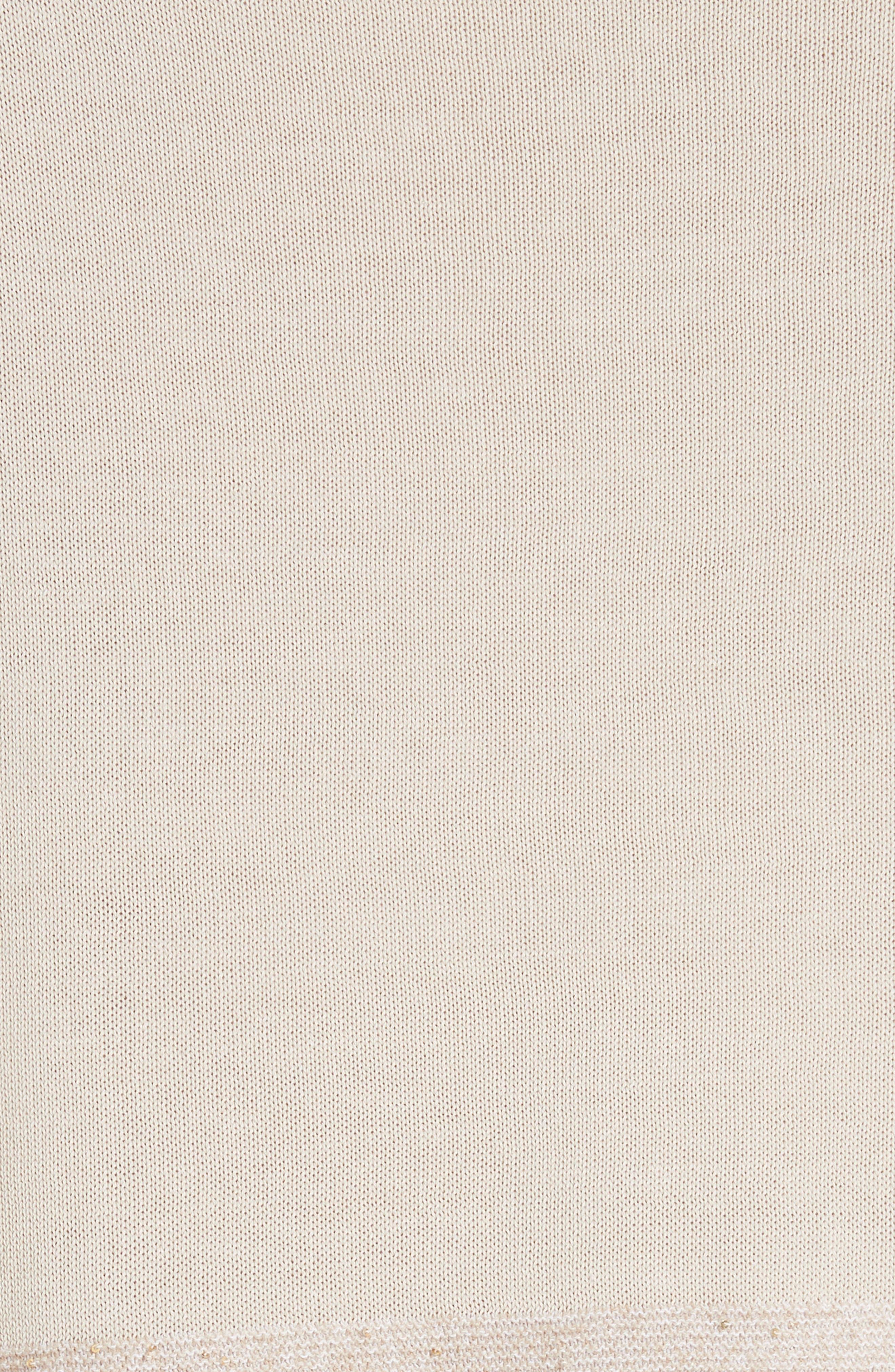 Cotton Crepe Yarn Sequin Stripe Sweater,                             Alternate thumbnail 5, color,                             RAFFIA MULTI