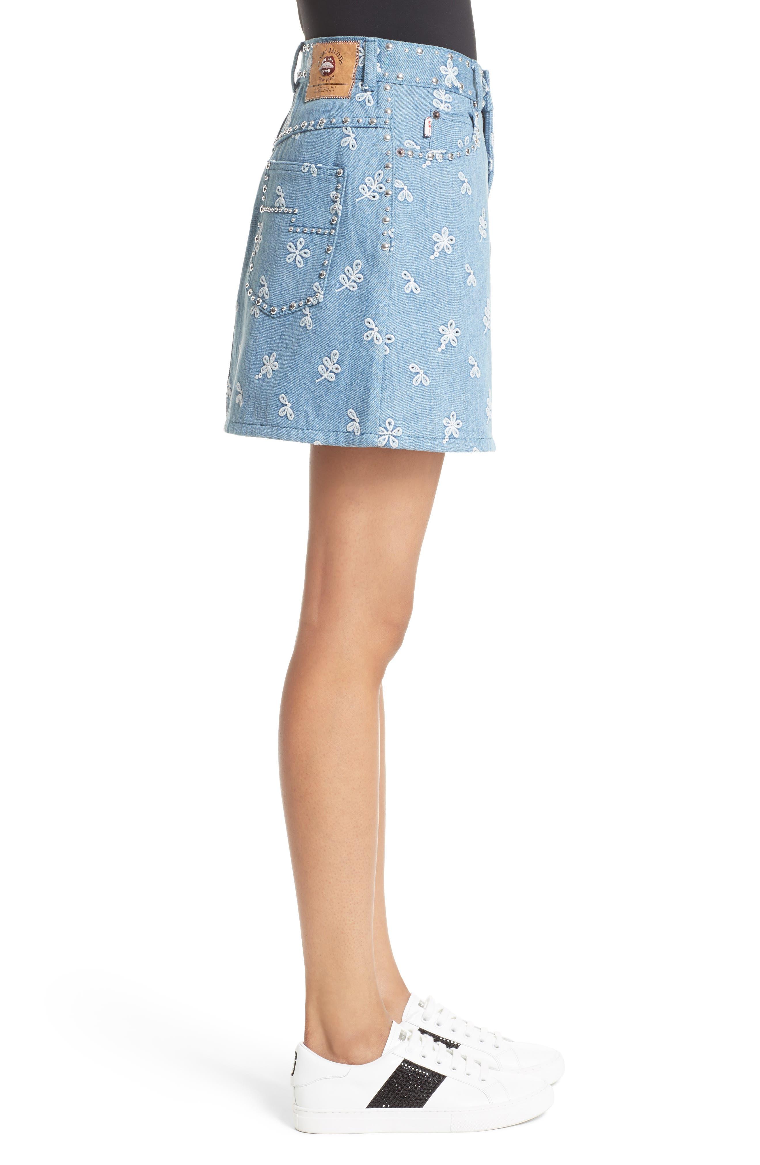 Broderie Anglaise Denim Miniskirt,                             Alternate thumbnail 3, color,                             400