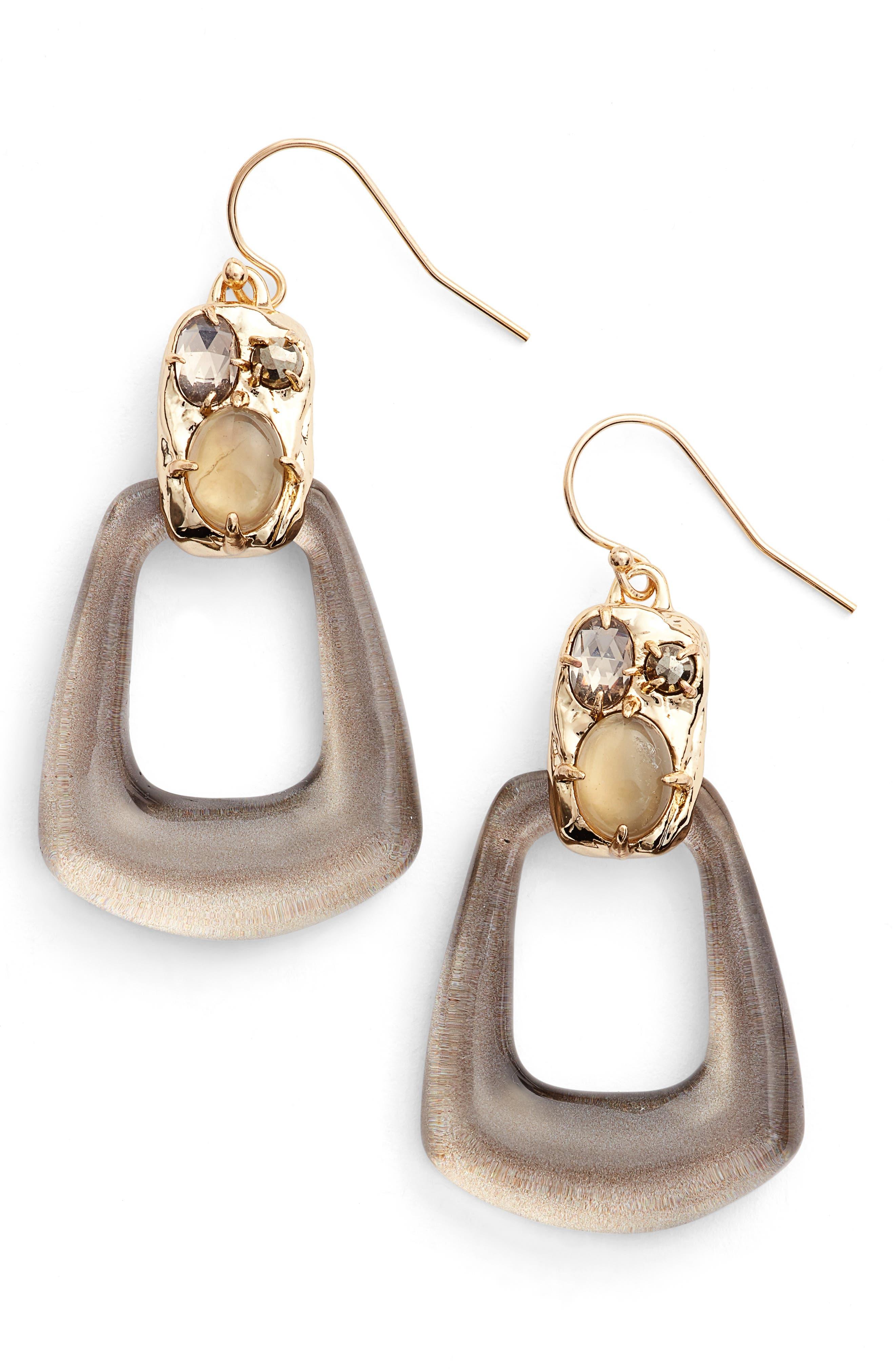 Lucite<sup>®</sup> Smoky Quartz Drop Earrings,                             Main thumbnail 1, color,                             020