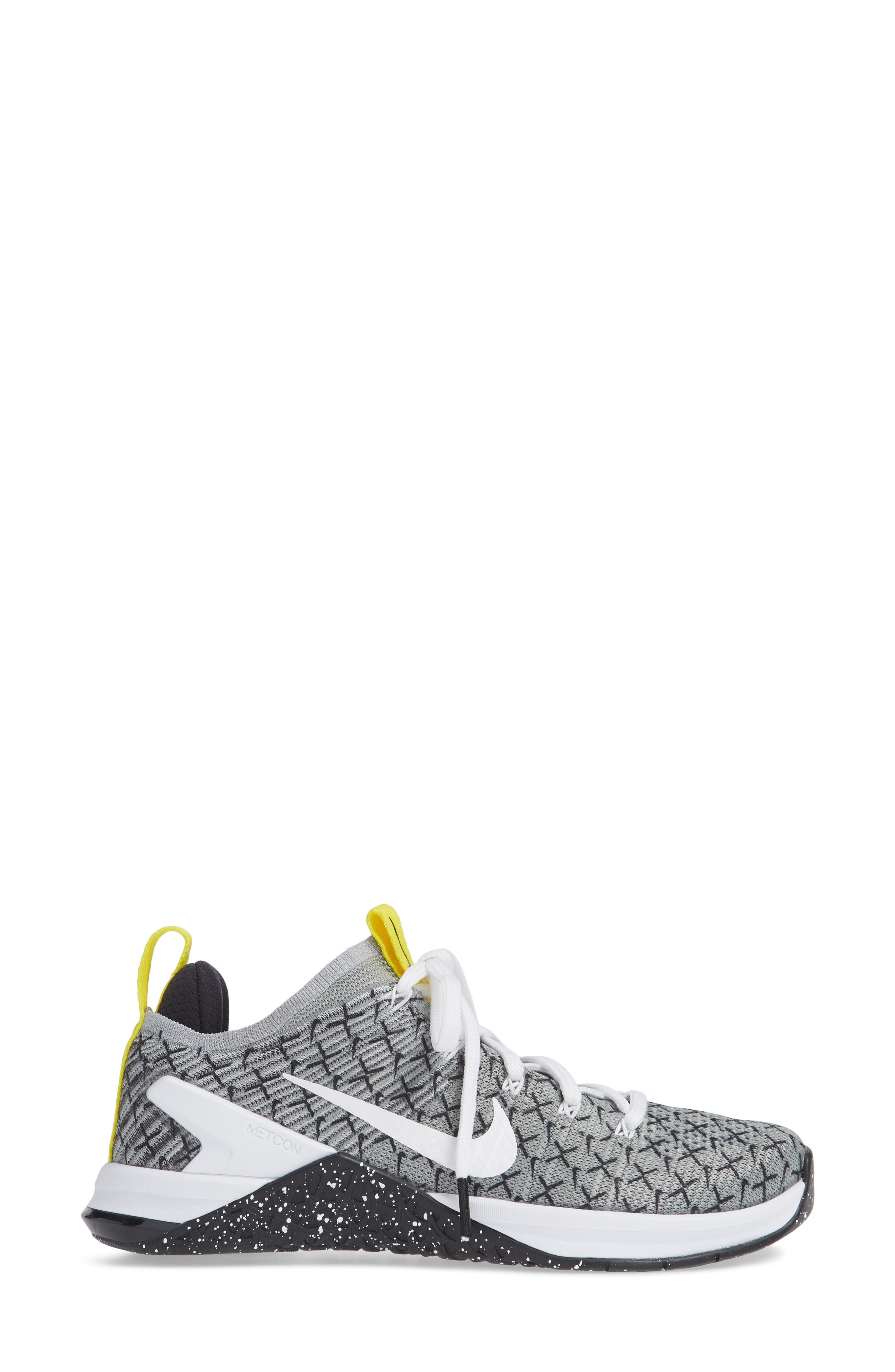 Metcon DSX Flyknit 2 Training Shoe,                             Alternate thumbnail 3, color,                             BLACK/ WHITE/ DYNAMIC YELLOW