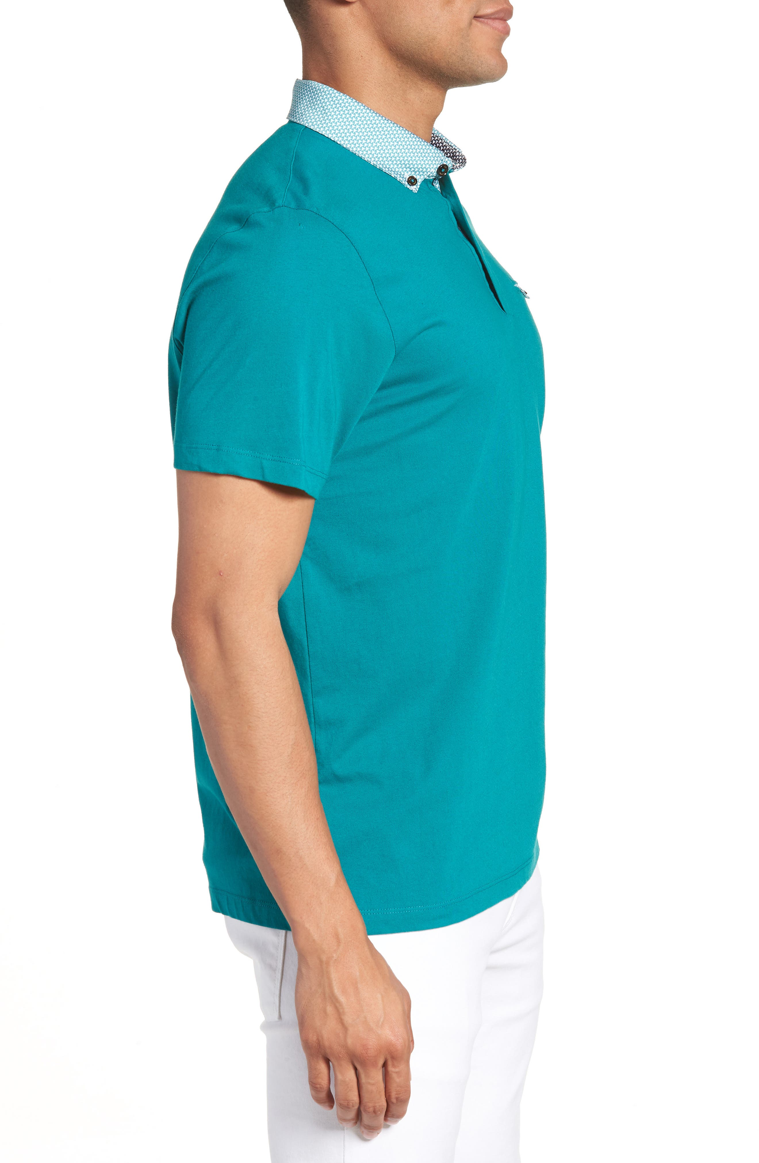 Movey Trim Fit Woven Geo Polo,                             Alternate thumbnail 10, color,