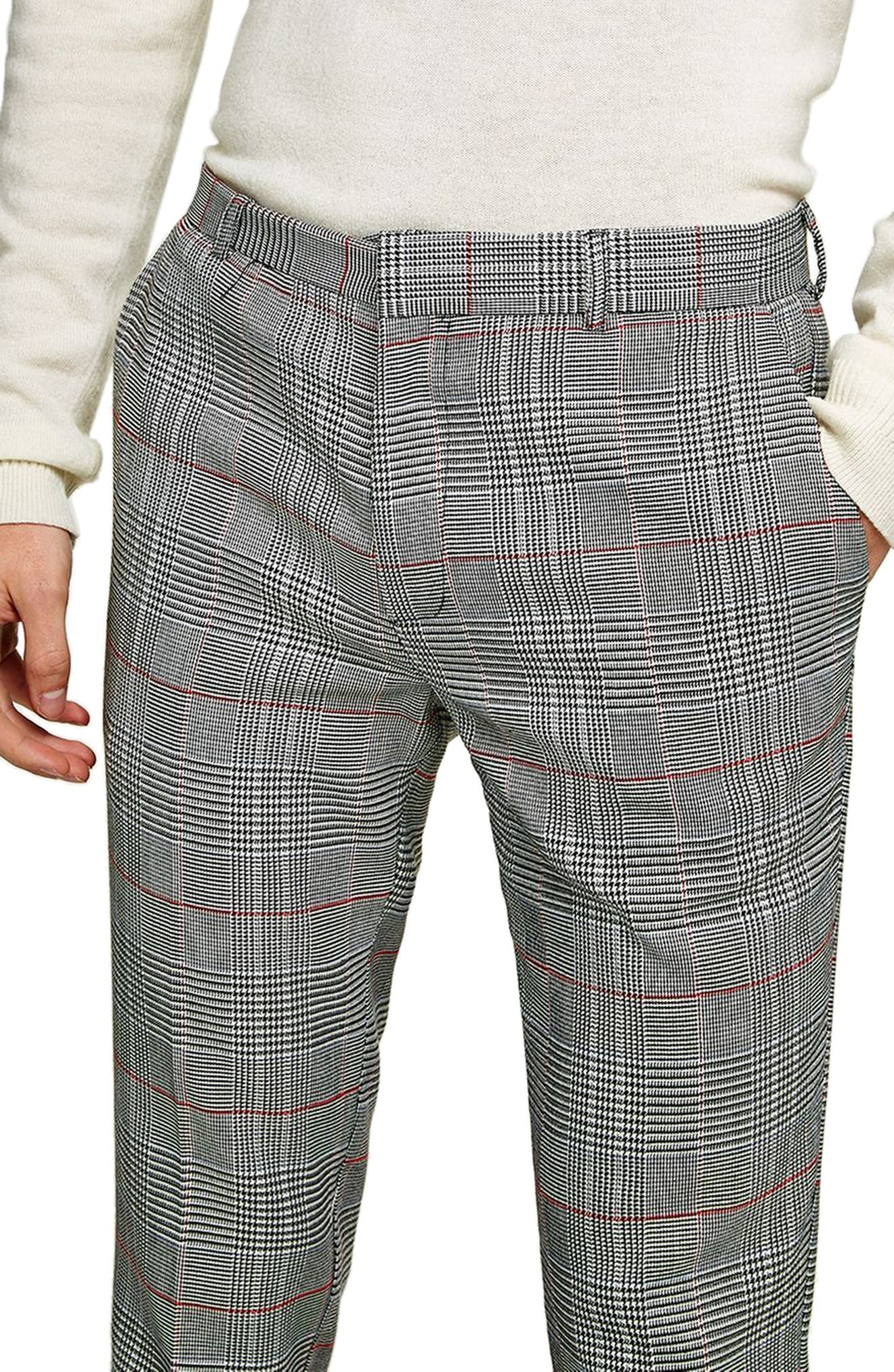 Skinny Fit Check Trousers,                             Alternate thumbnail 3, color,