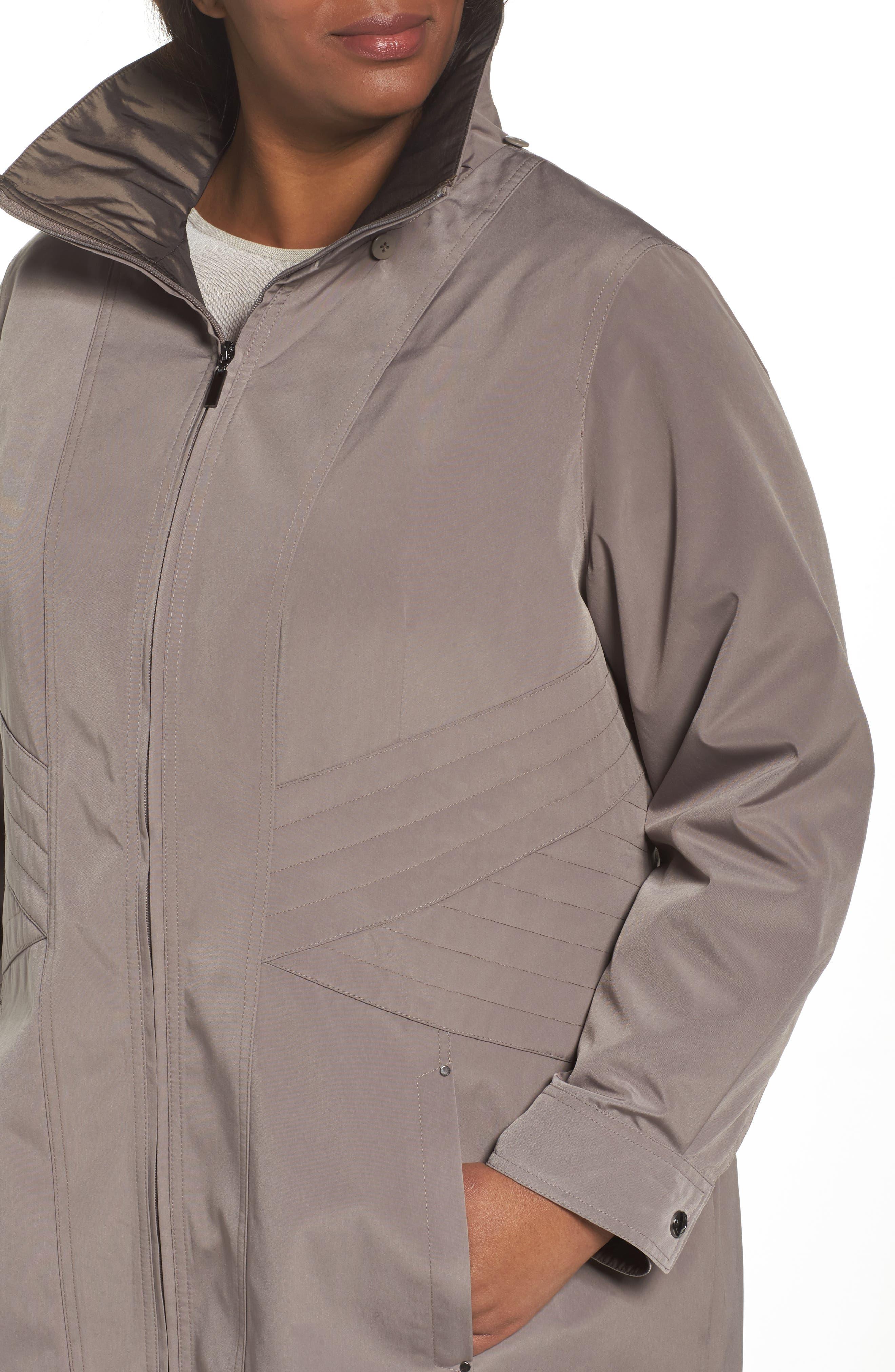 Two-Tone Long Silk Look Raincoat,                             Alternate thumbnail 8, color,