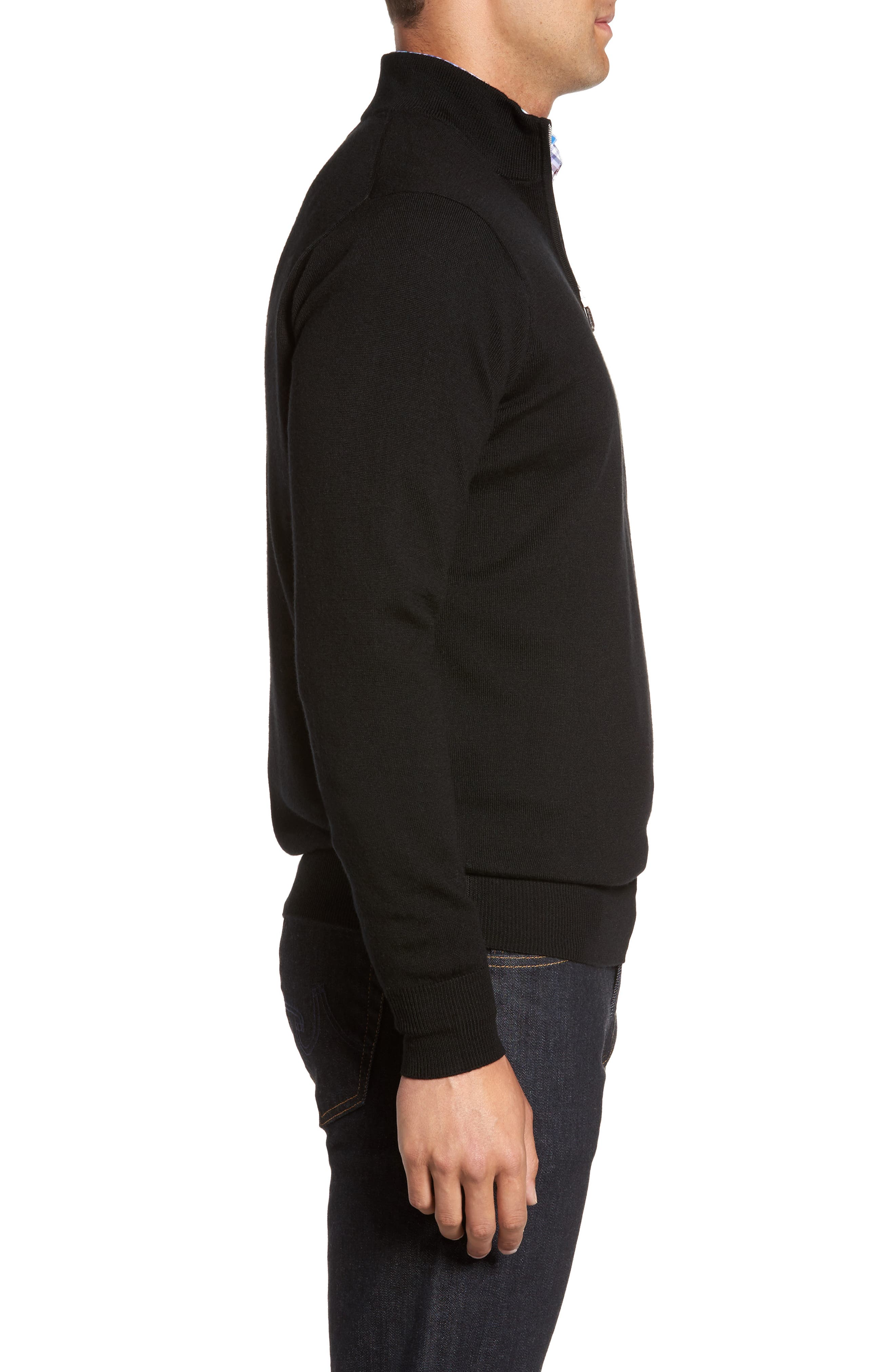 Crown Soft Merino Blend Quarter Zip Sweater,                             Alternate thumbnail 3, color,                             001