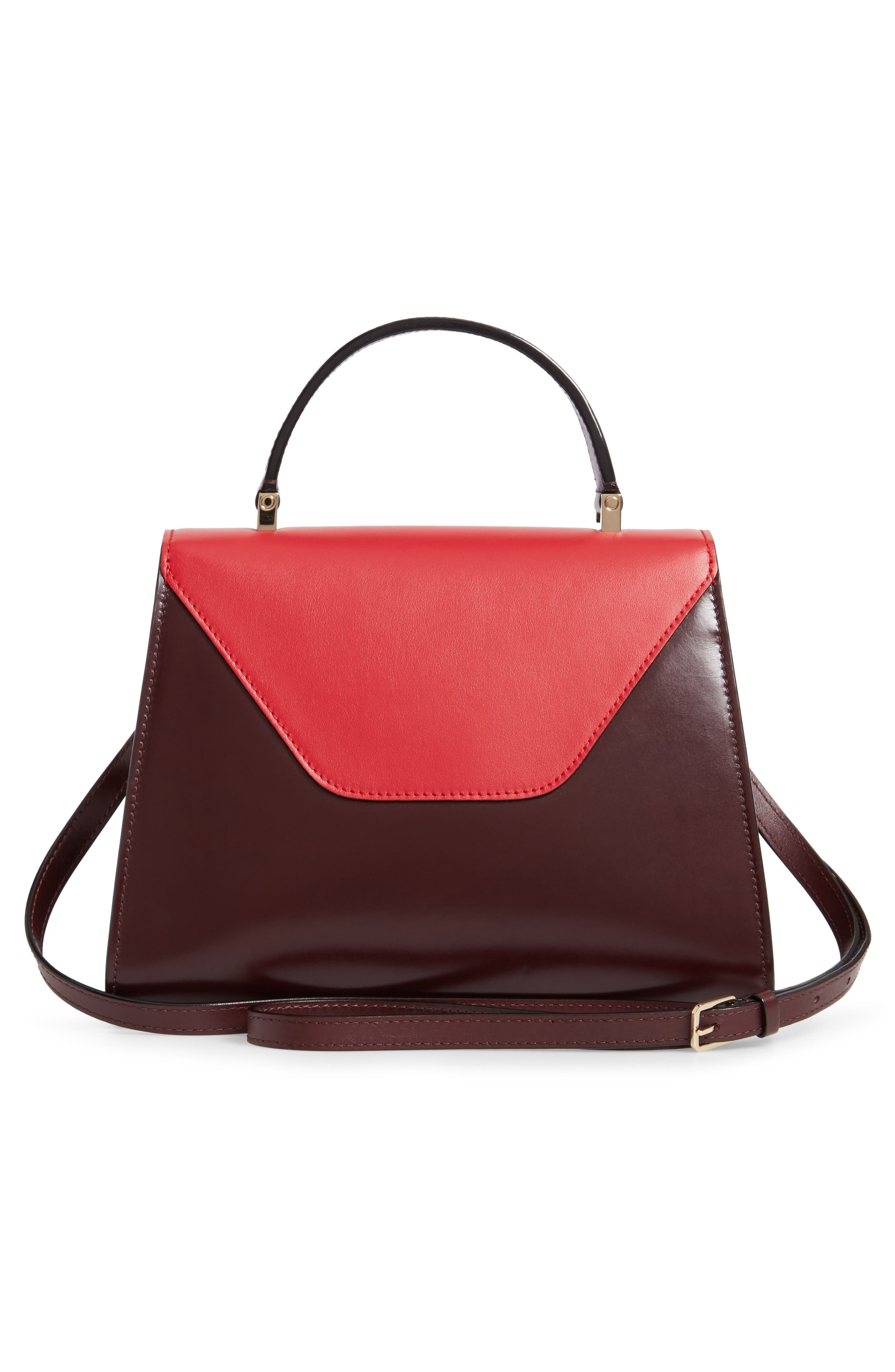Iside Medium Colorblock Leather Top Handle Bag,                             Alternate thumbnail 3, color,                             FRAGOLA/ GRANATA
