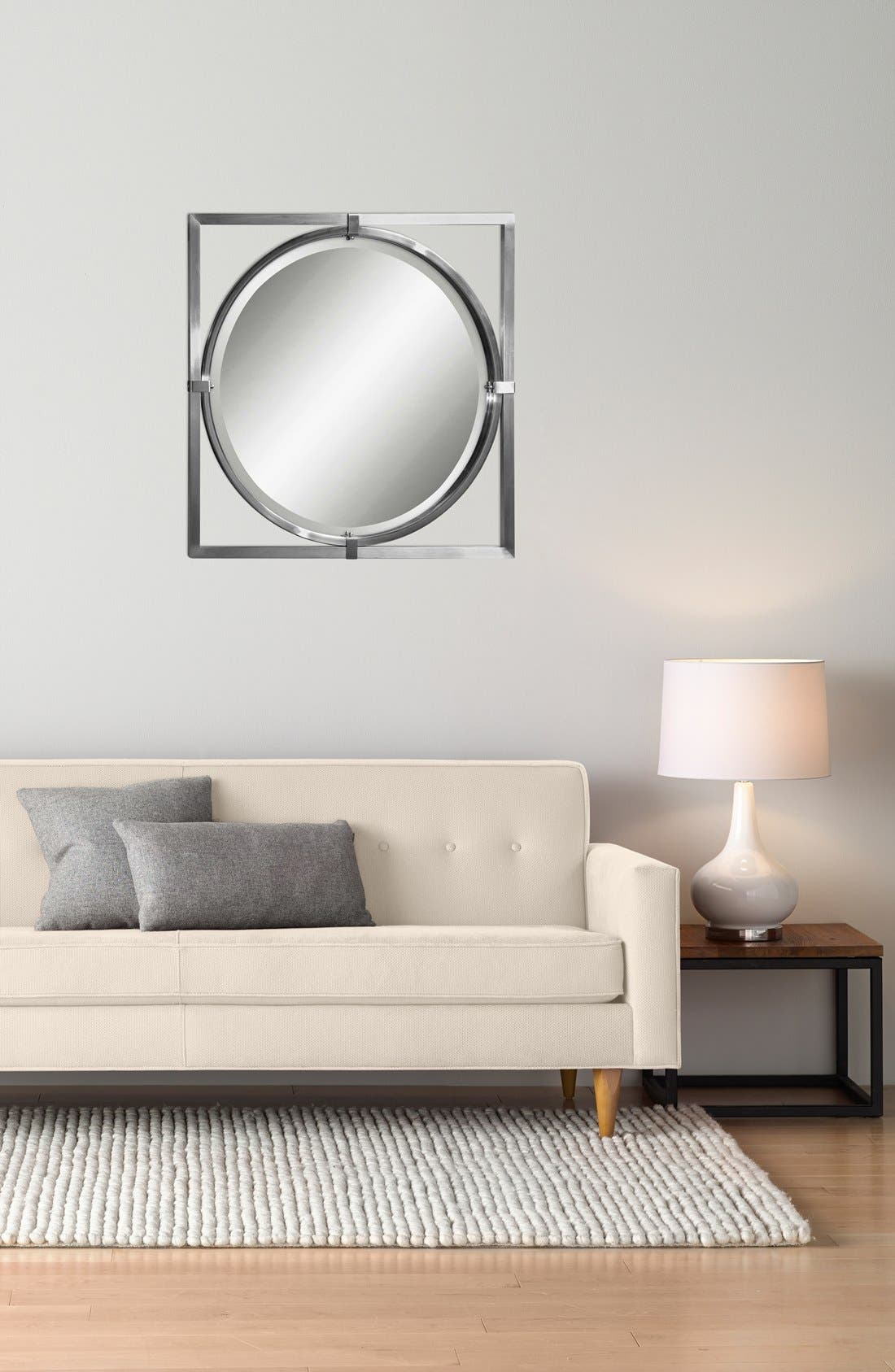 'Kagami' Brushed Nickel Mirror,                             Alternate thumbnail 2, color,
