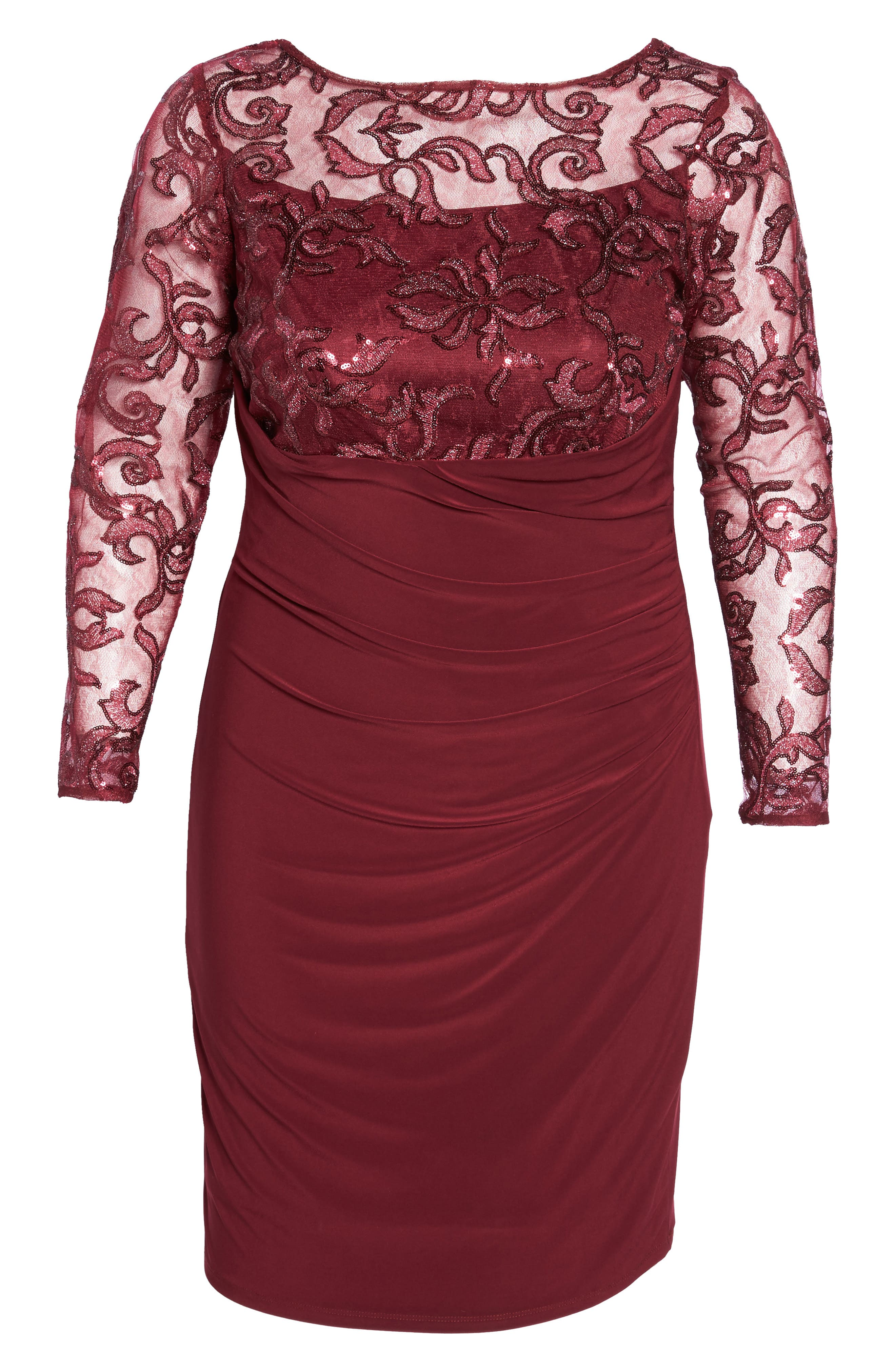 Sequin Illusion & Jersey Side Ruched Sheath Dress,                             Alternate thumbnail 16, color,