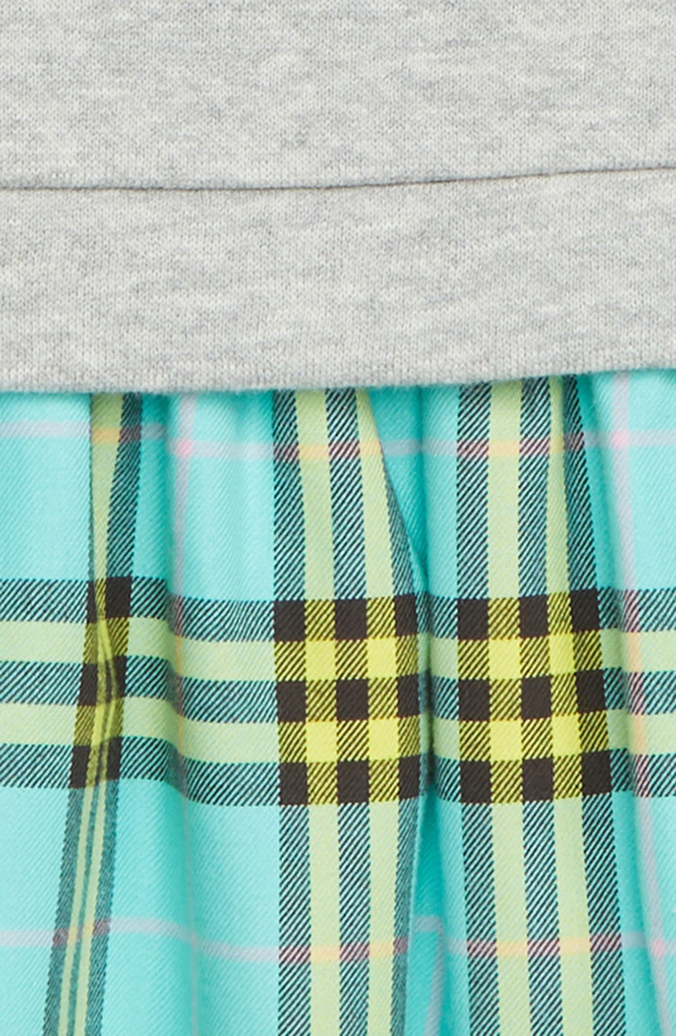 Check & Cotton Sweater Dress,                             Alternate thumbnail 3, color,                             BRIGHT TURQUOISE CHECK